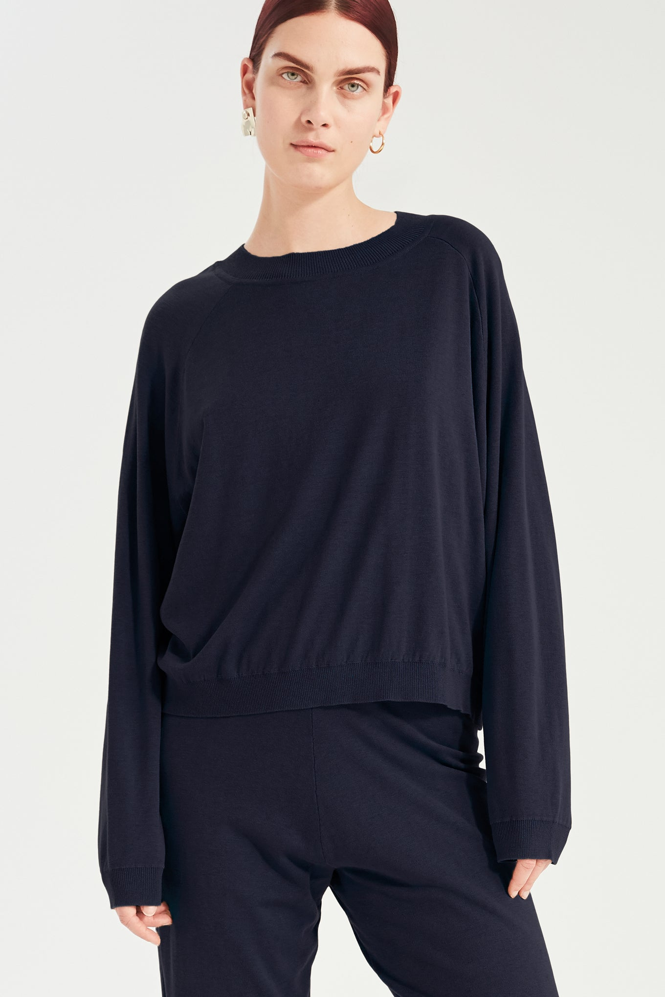 Kelly Knit - Navy - Silk/Cotton