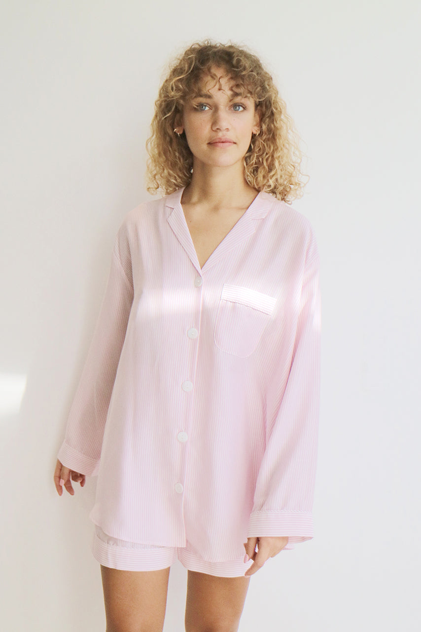 PJ SET - PINK STRIPE - SILK/COTTON