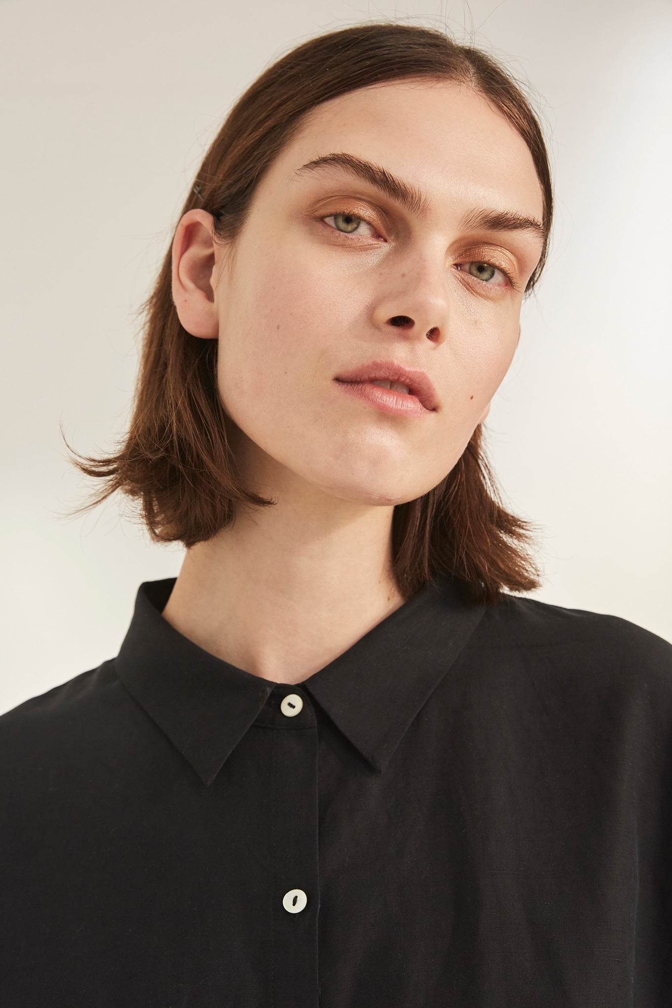 Bianca LS Shirt - Black - Silk/Linen