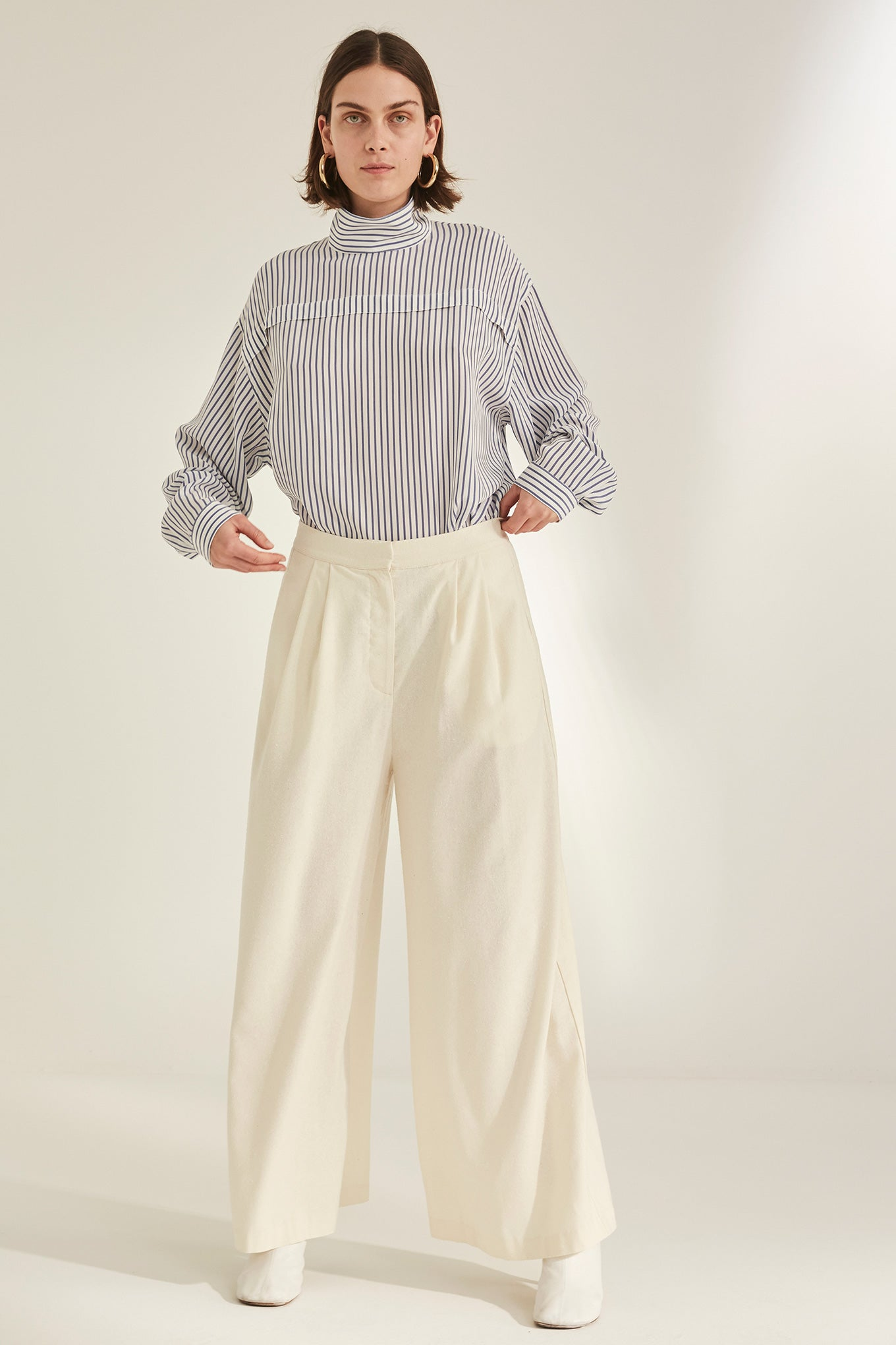 Cecco Pants - Off White - Raw Silk