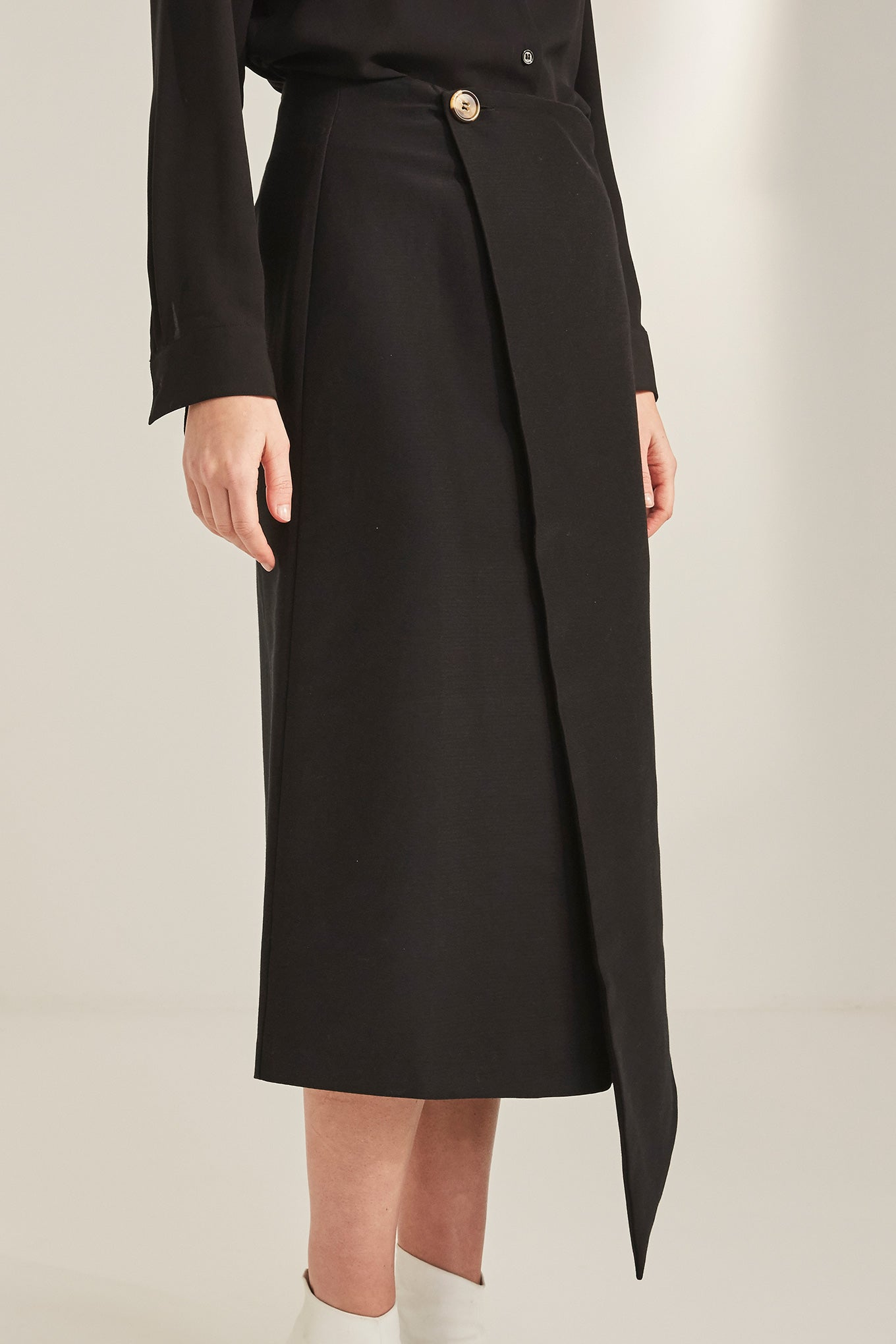 Jo Wrap Skirt - Black - Silk/Cotton