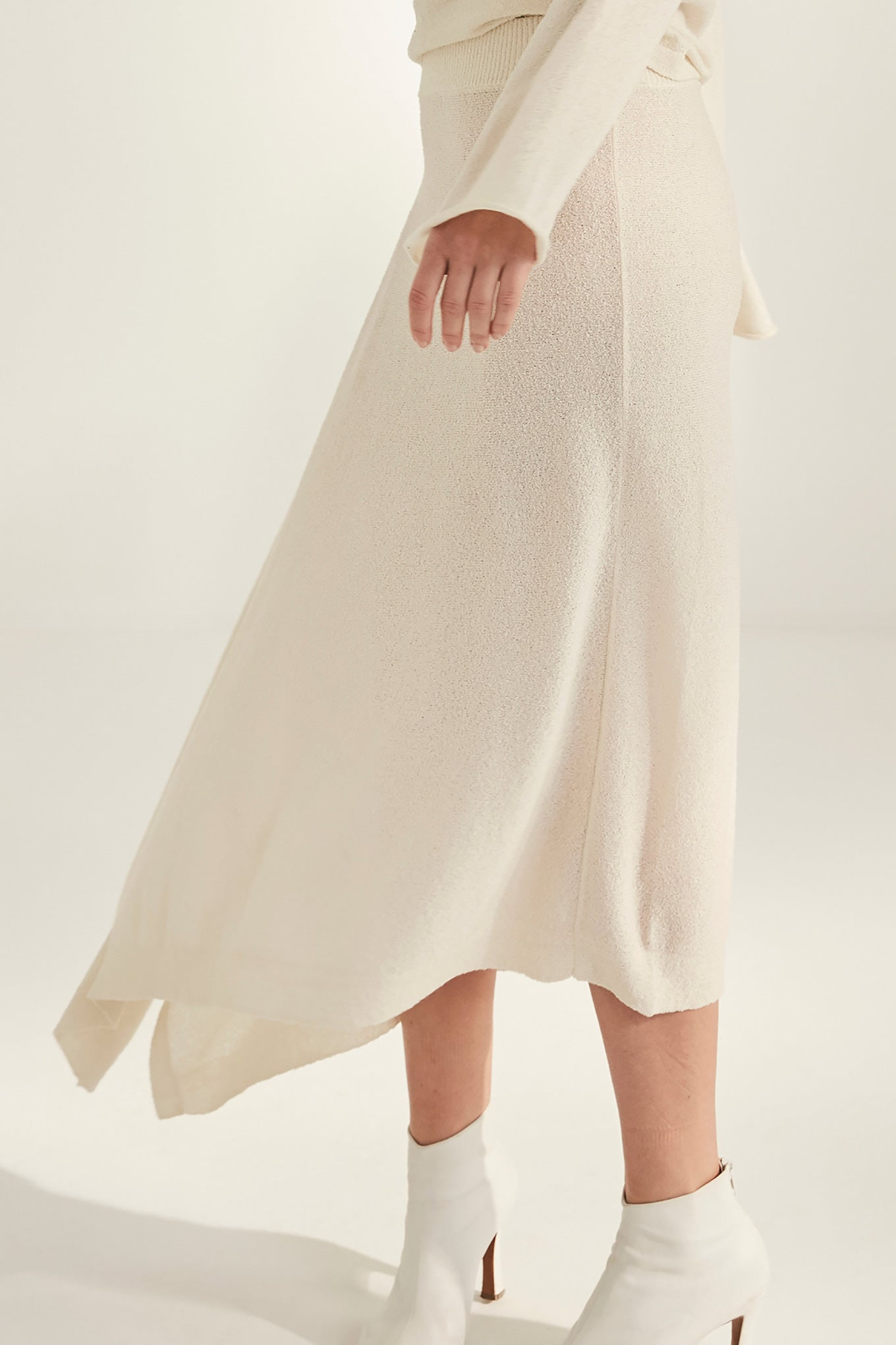 Nina Knit Skirt - Chalk - Silk Mix