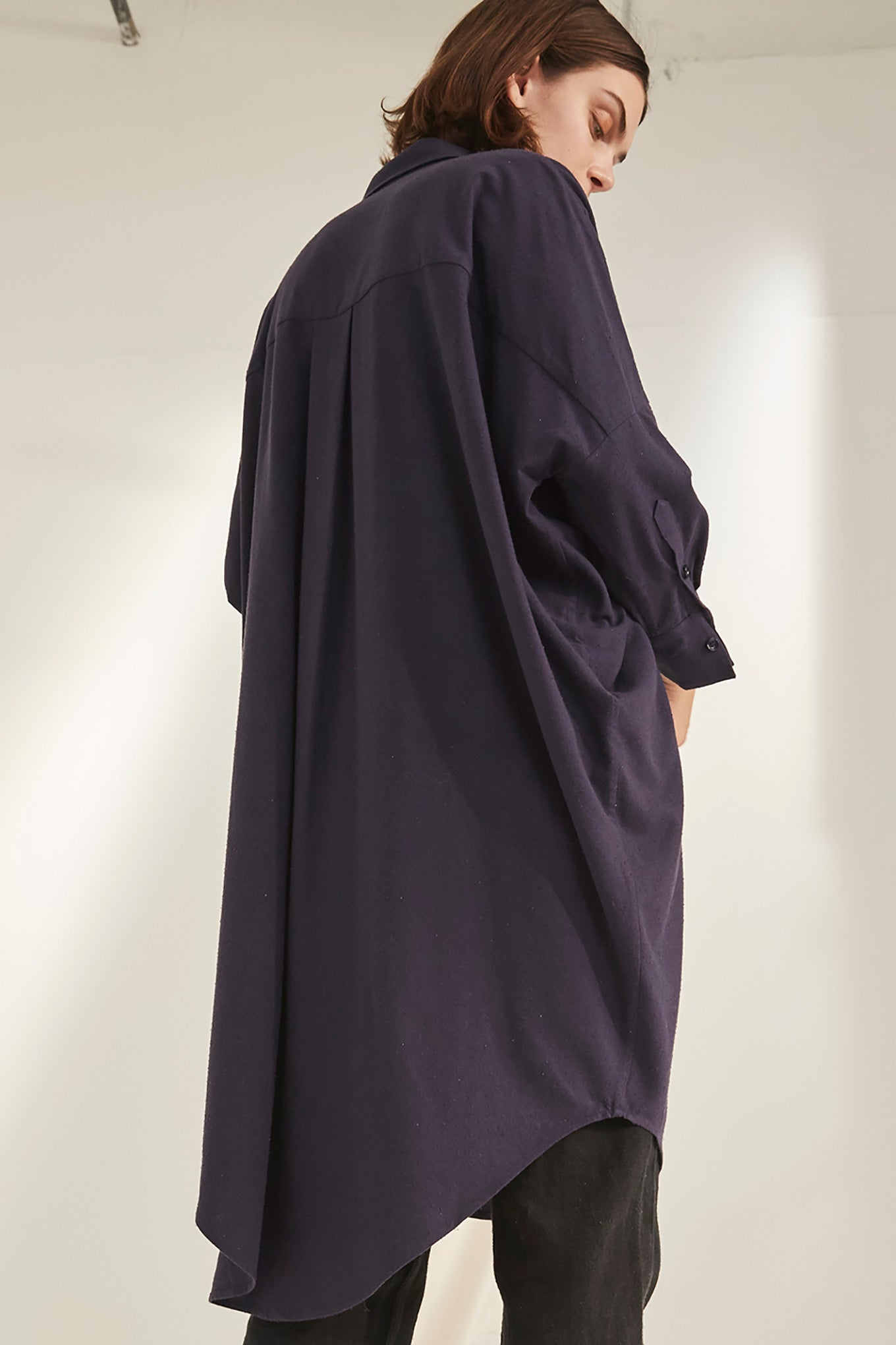 Oversize Shirt Dress - Graystone - Raw Silk