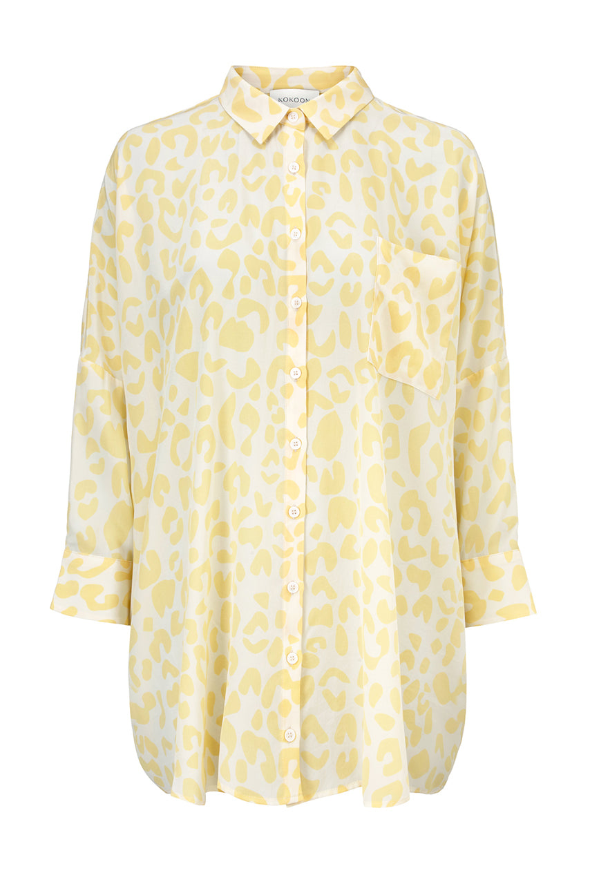 Bianca Pocket Shirt - Yellow Leo