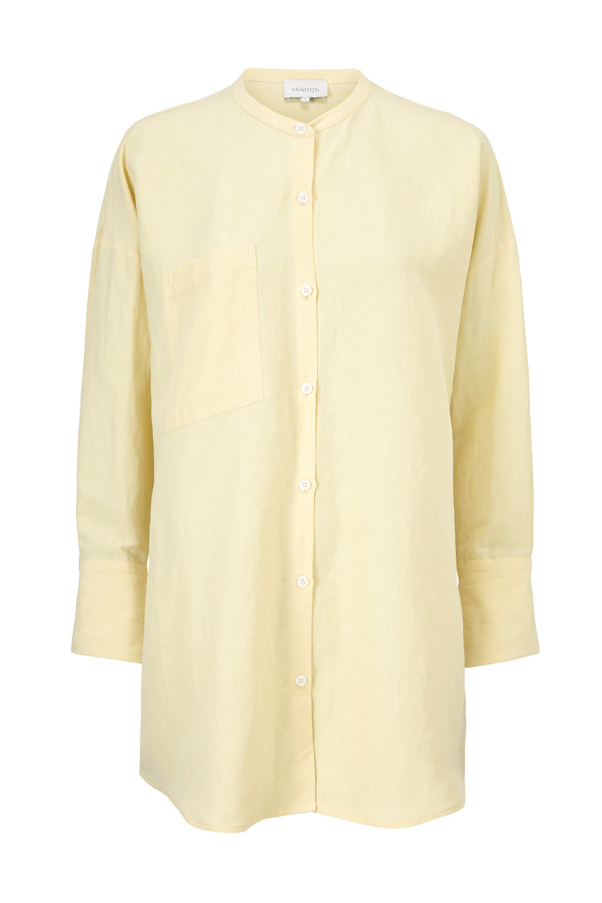 MANDARIN SHIRT - SUNFLOWER - SILK/LINEN