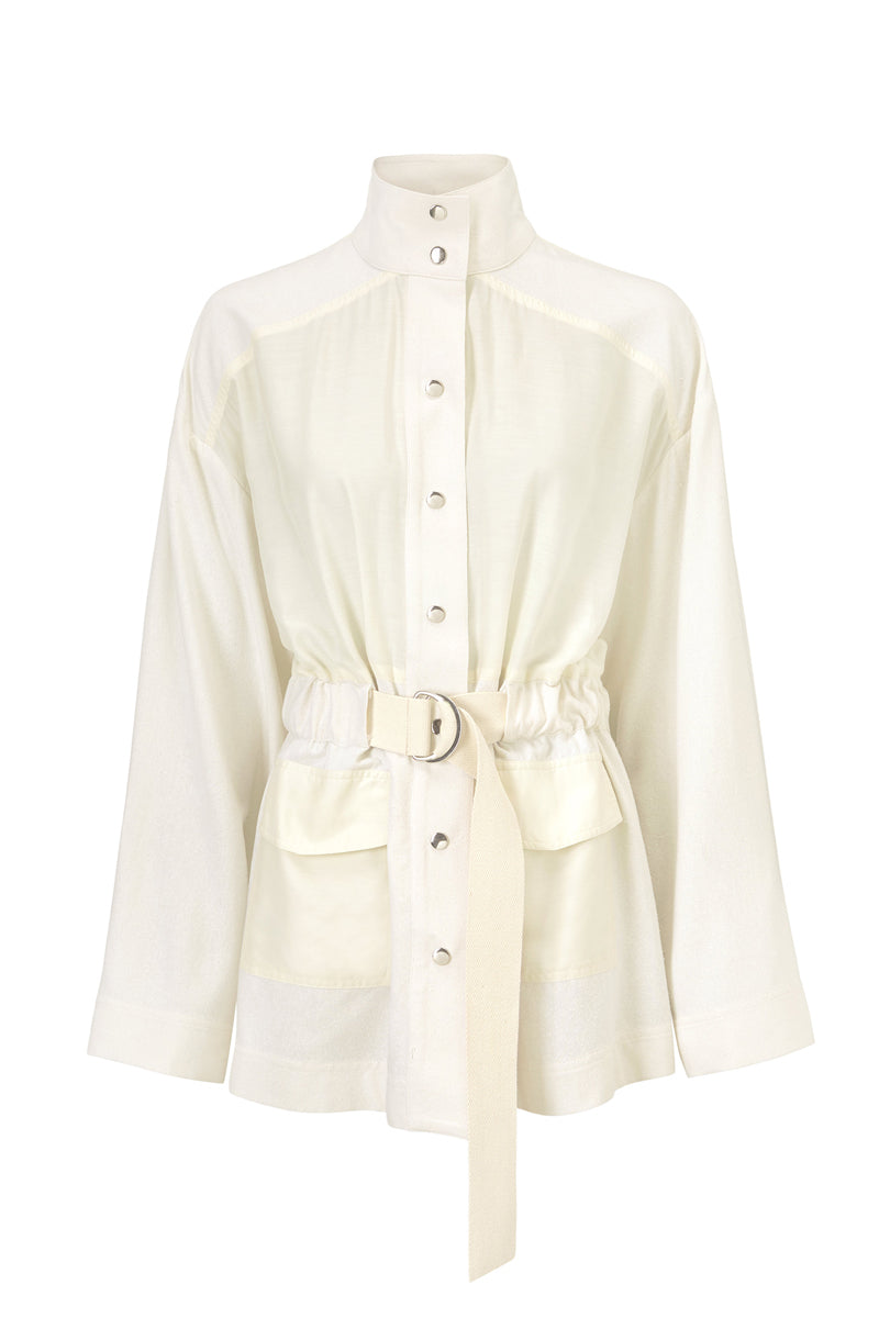 Stevie Shirt - Cream/White - Silk & Silk/Cotton