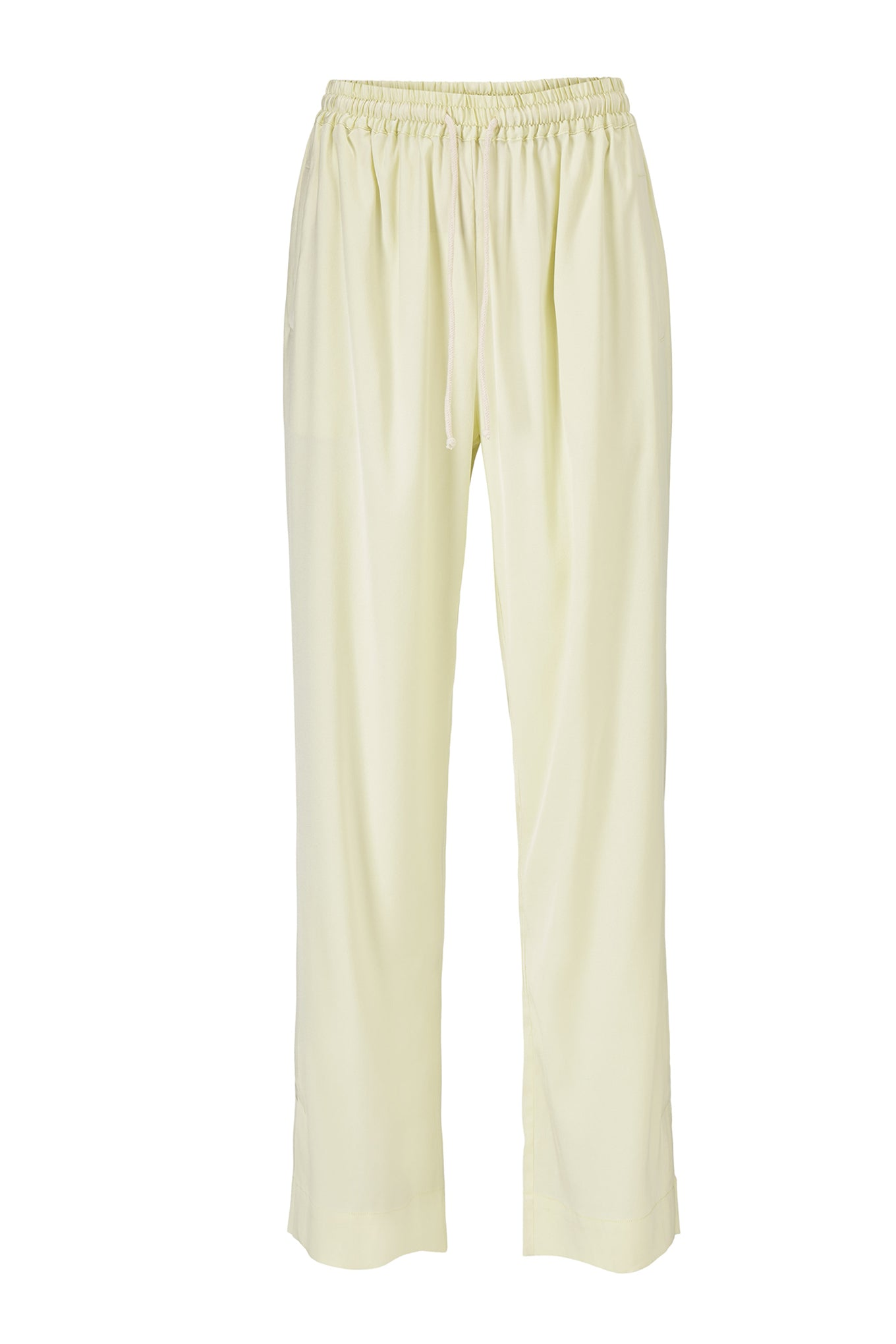 Eli Slit Pants - Lemon - Silk/Spandex Twill