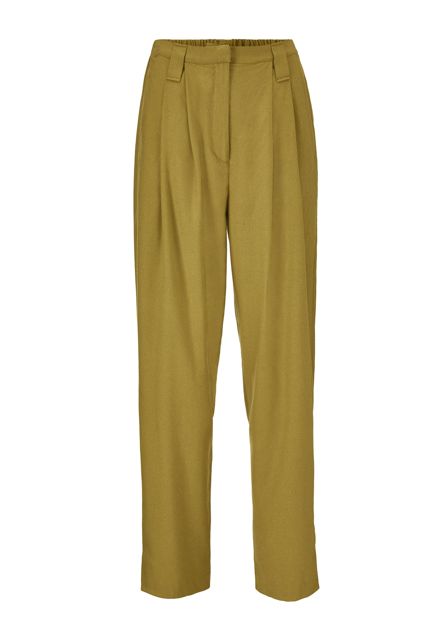 HARRY PANTS - PICKLE GREEN - RAW SILK