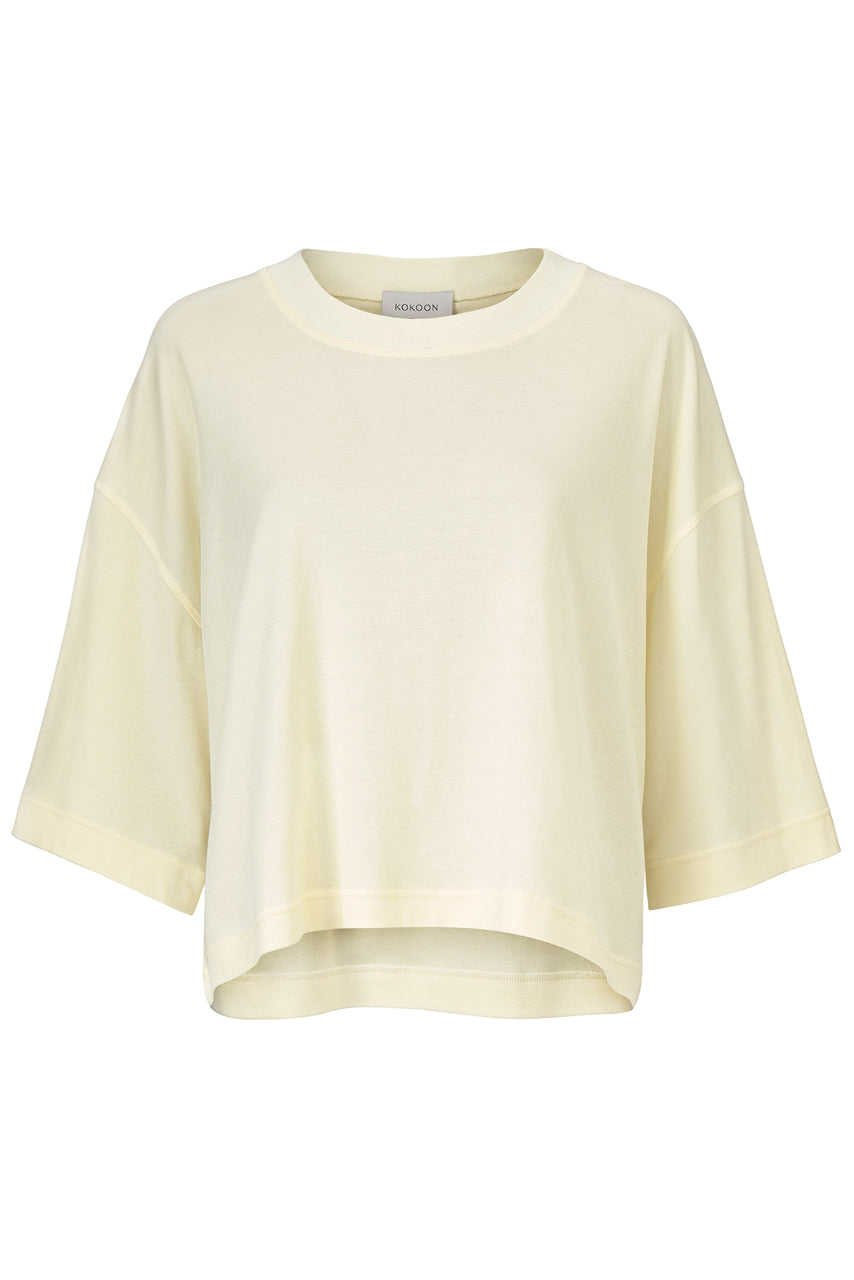 Olga Jersey Tee - Lemon - Silk/Cotton Jersey