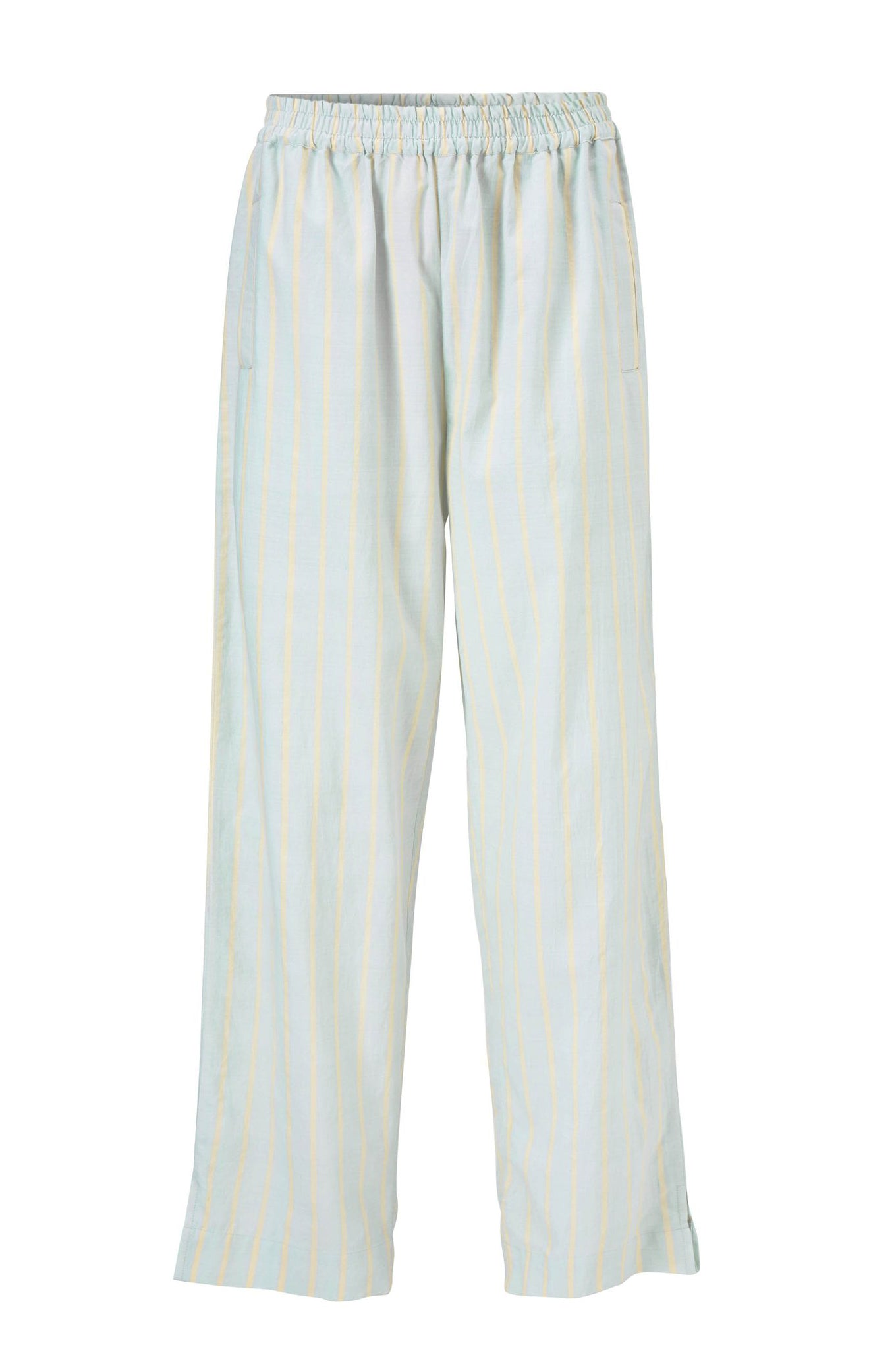 ELI PANTS - BLUE/YELLOW STRIPE - SILK/COTTON