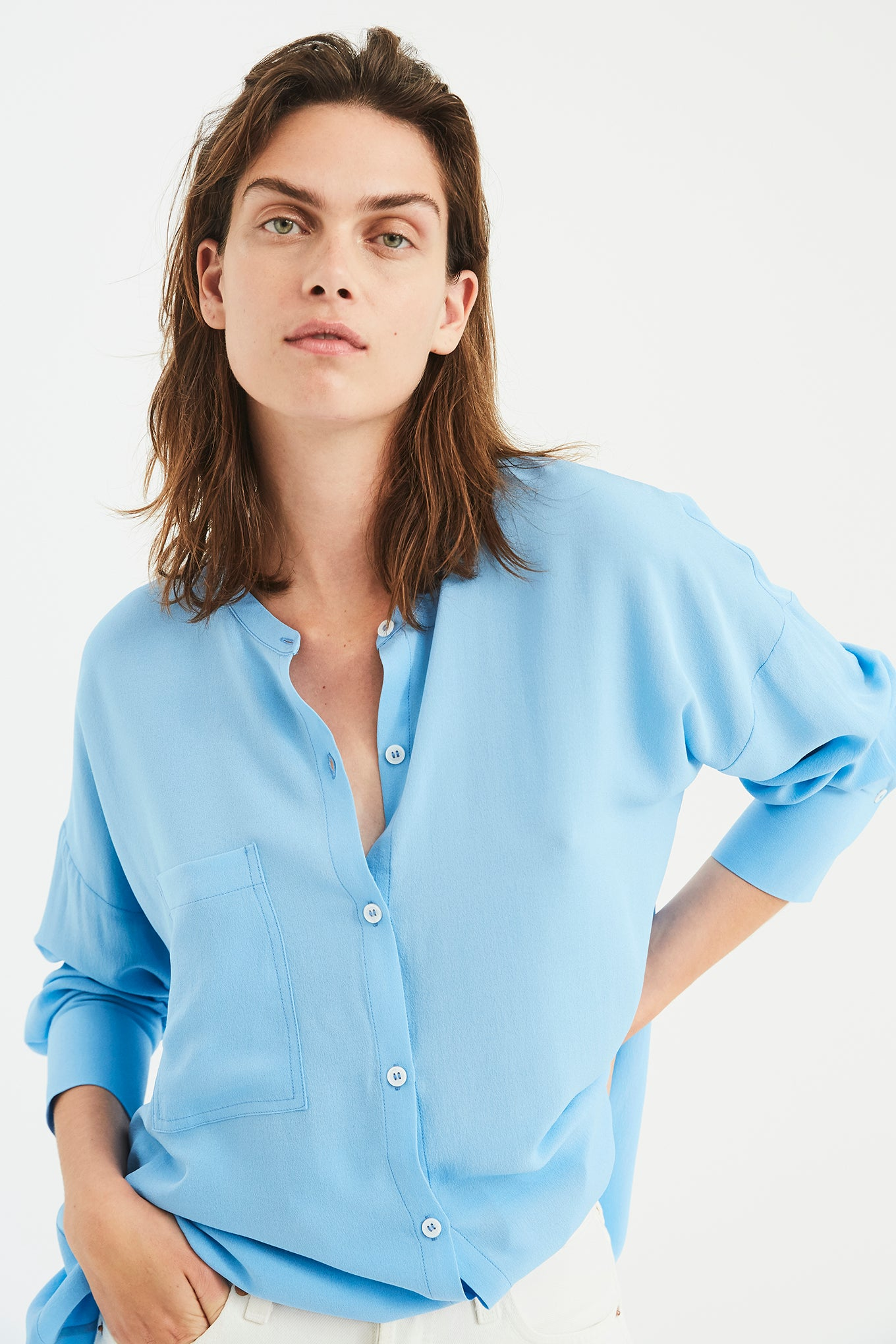 Mandarin Shirt - Light Blue