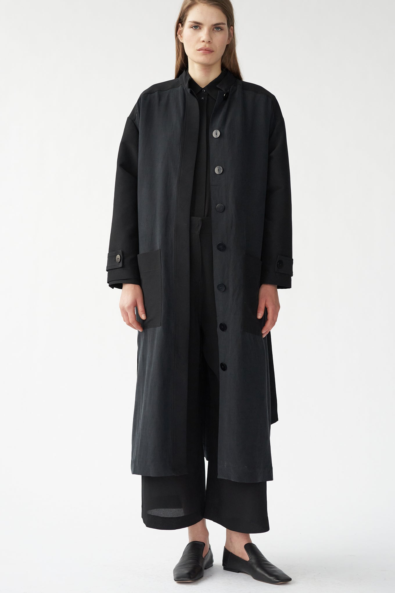 MARGE COAT - BLACK - SILK/LINEN & SILK/COTTON