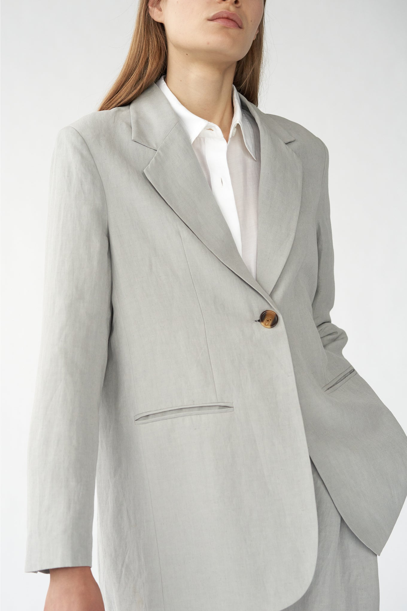 OTIS BLAZER - GREY - SILK/LINEN