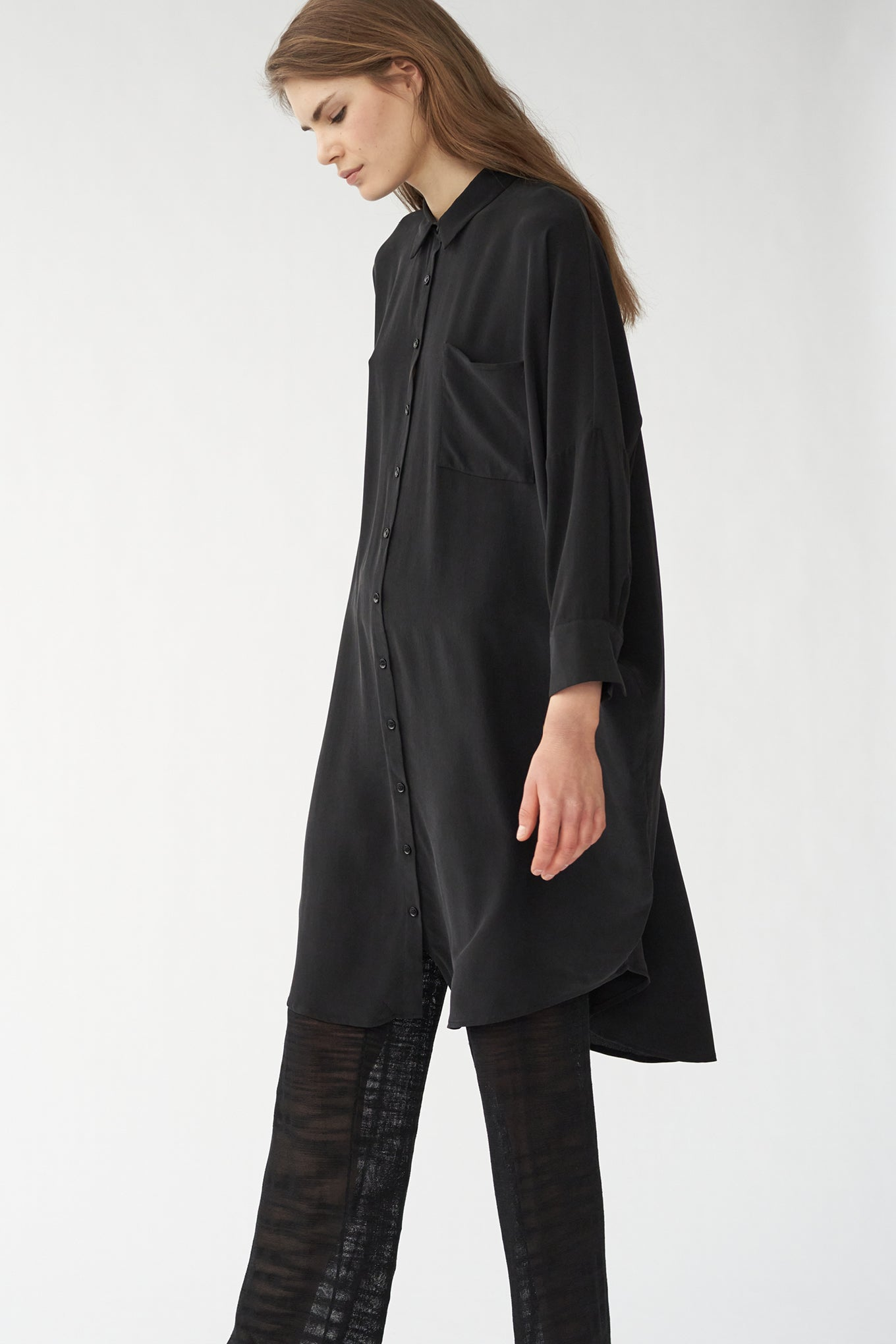 OVERSIZE SHIRT DRESS - BLACK