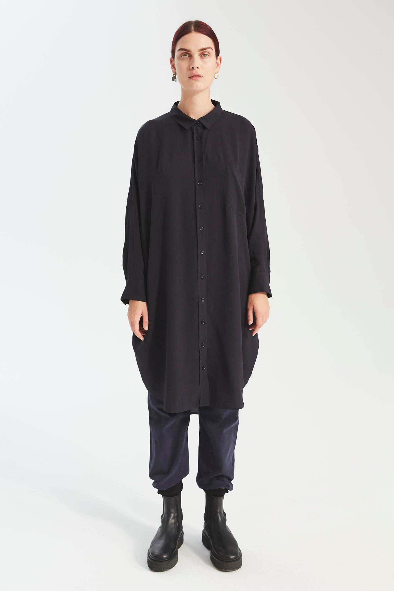 Oversize LS Shirt Dress - Navy
