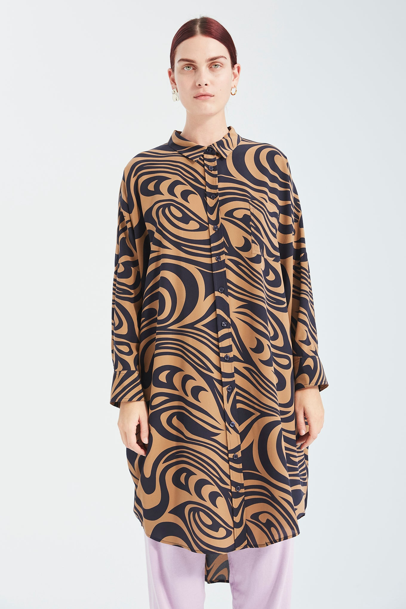 Oversize LS Shirt Dress - Navy Swirl