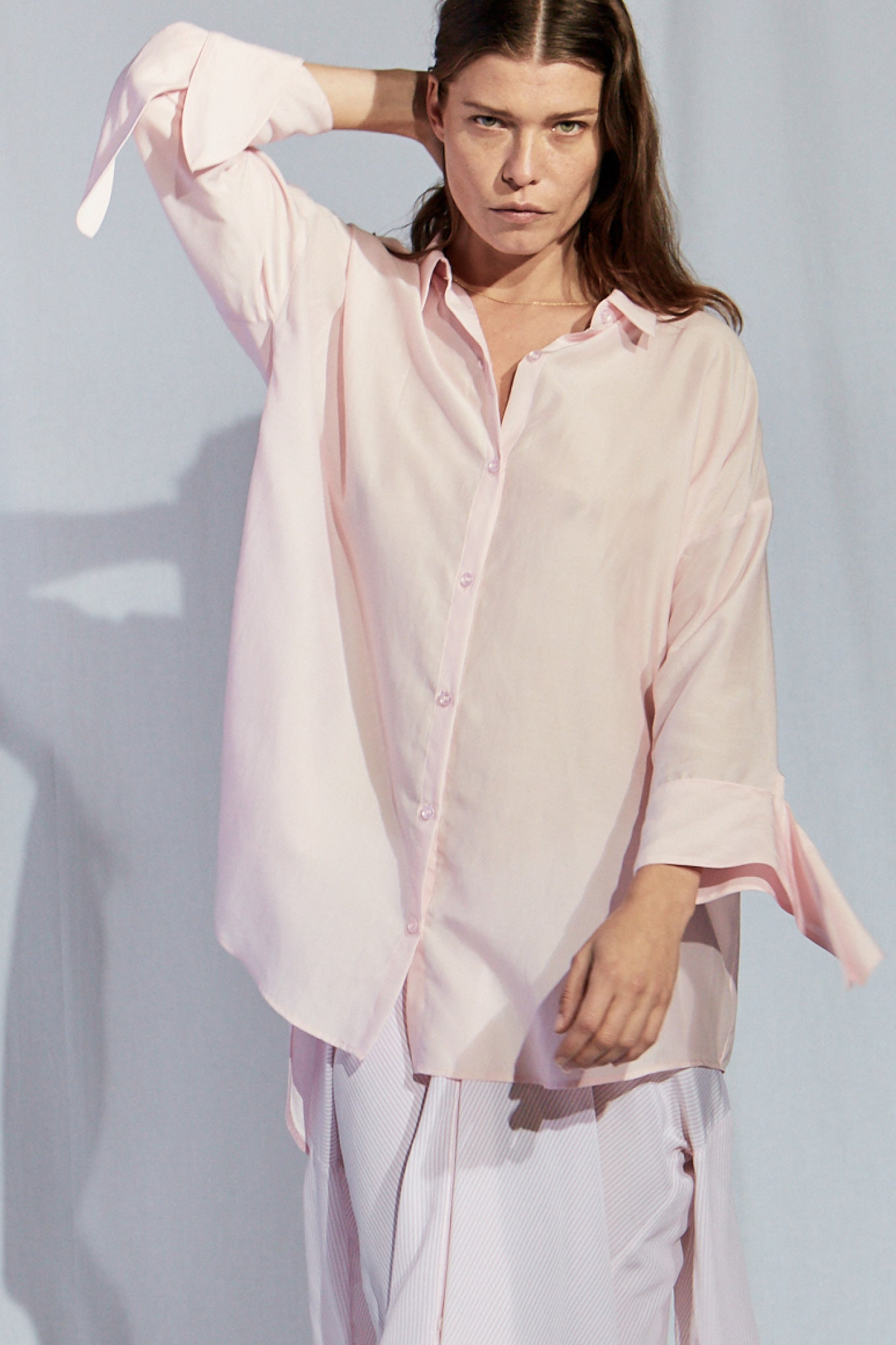 BIANCA BOW SHIRT - CANDY PINK - SILK/COTTON