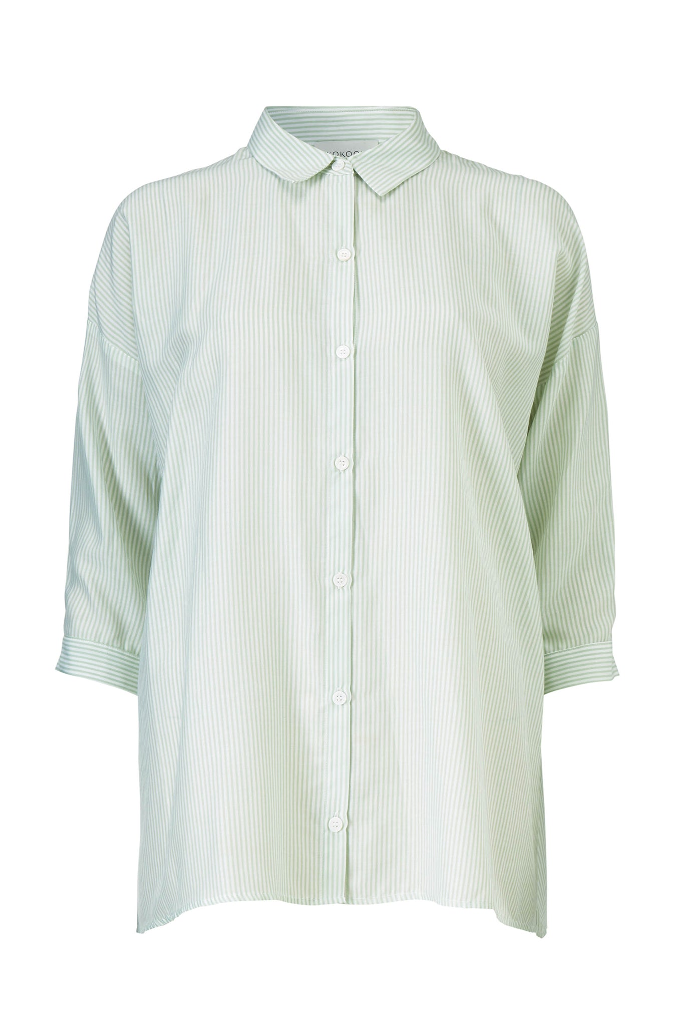 BIANCA STRAIGHT SHIRT - MINT STRIPE - SILK/COTTON