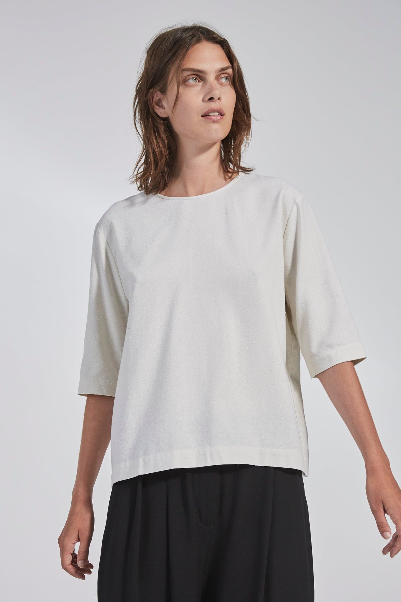 Tavi Tee - Off White - Raw Silk