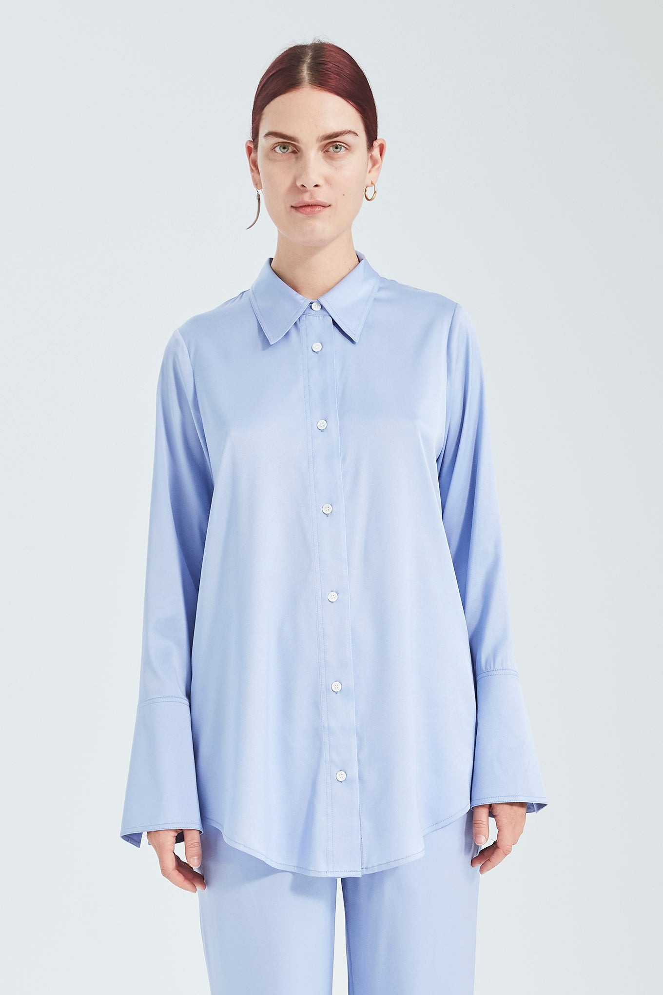 Valentin Shirt - Steel Blue - Silk/Spandex Twill