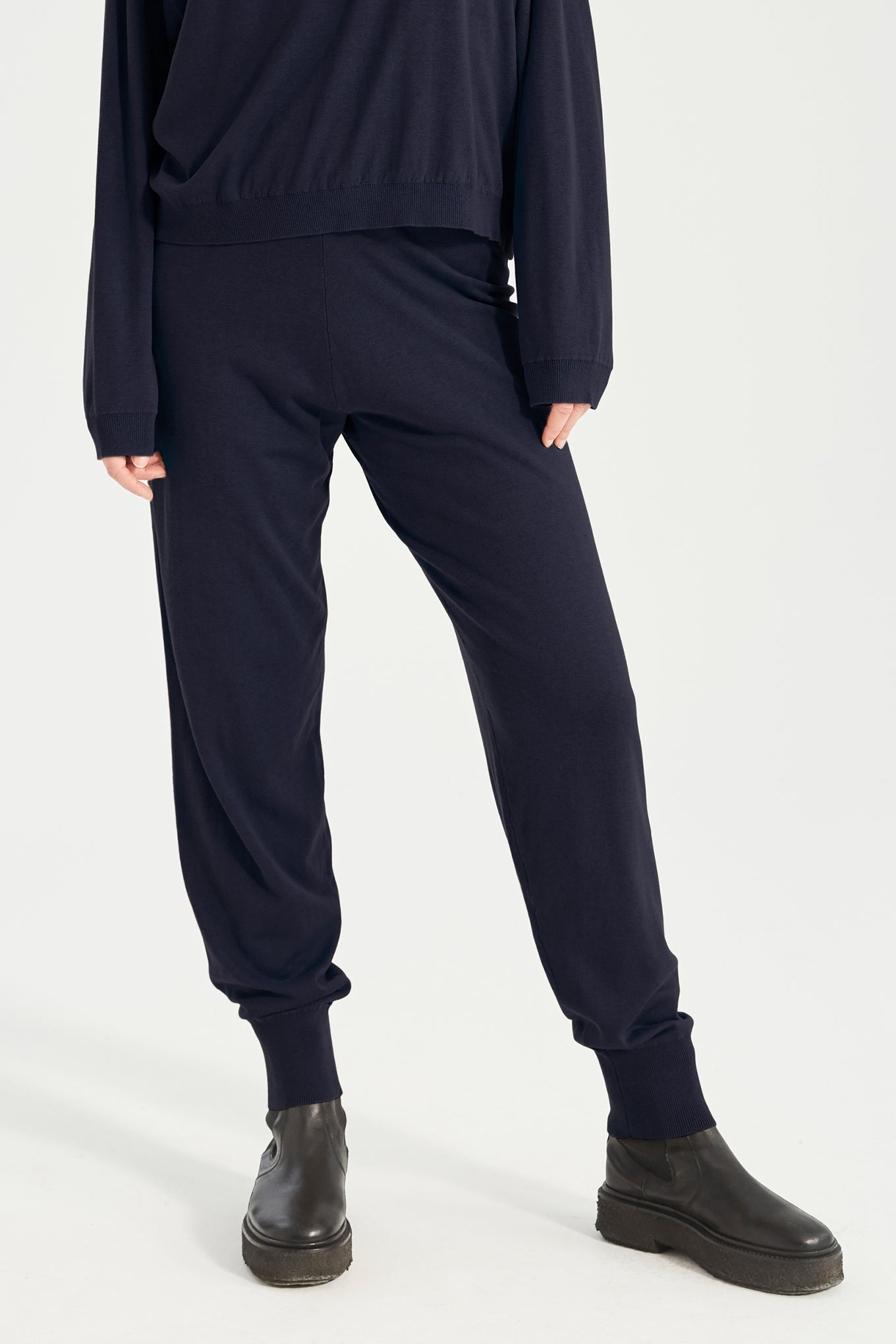 Zana Knit Pants - Navy - Silk/Cotton