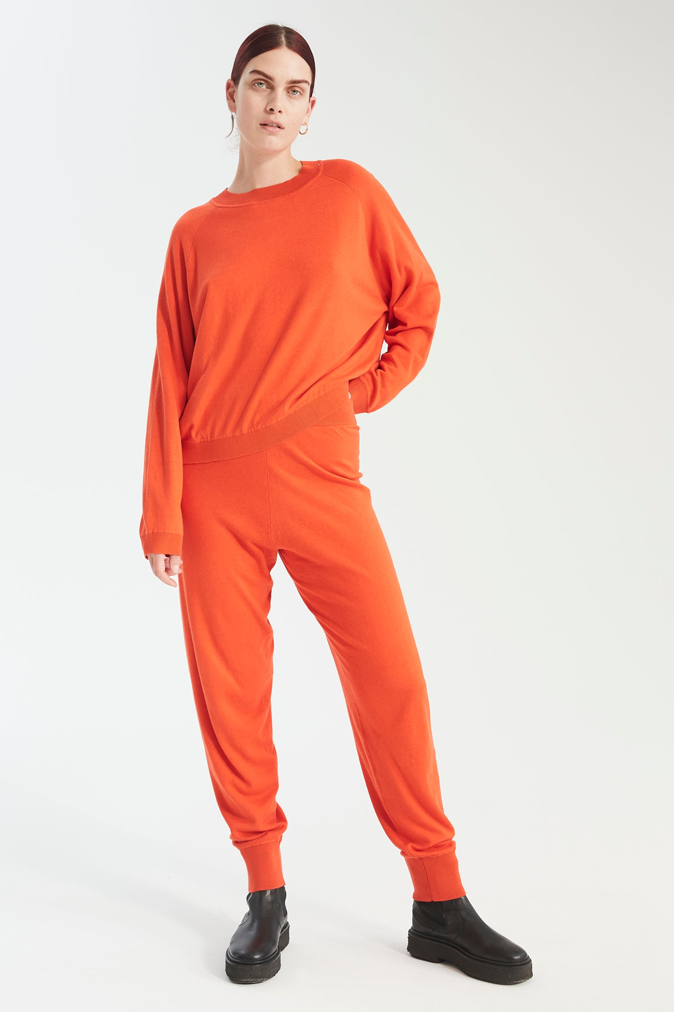 Zana Knit Pants - Bright Orange - Silk/Cotton