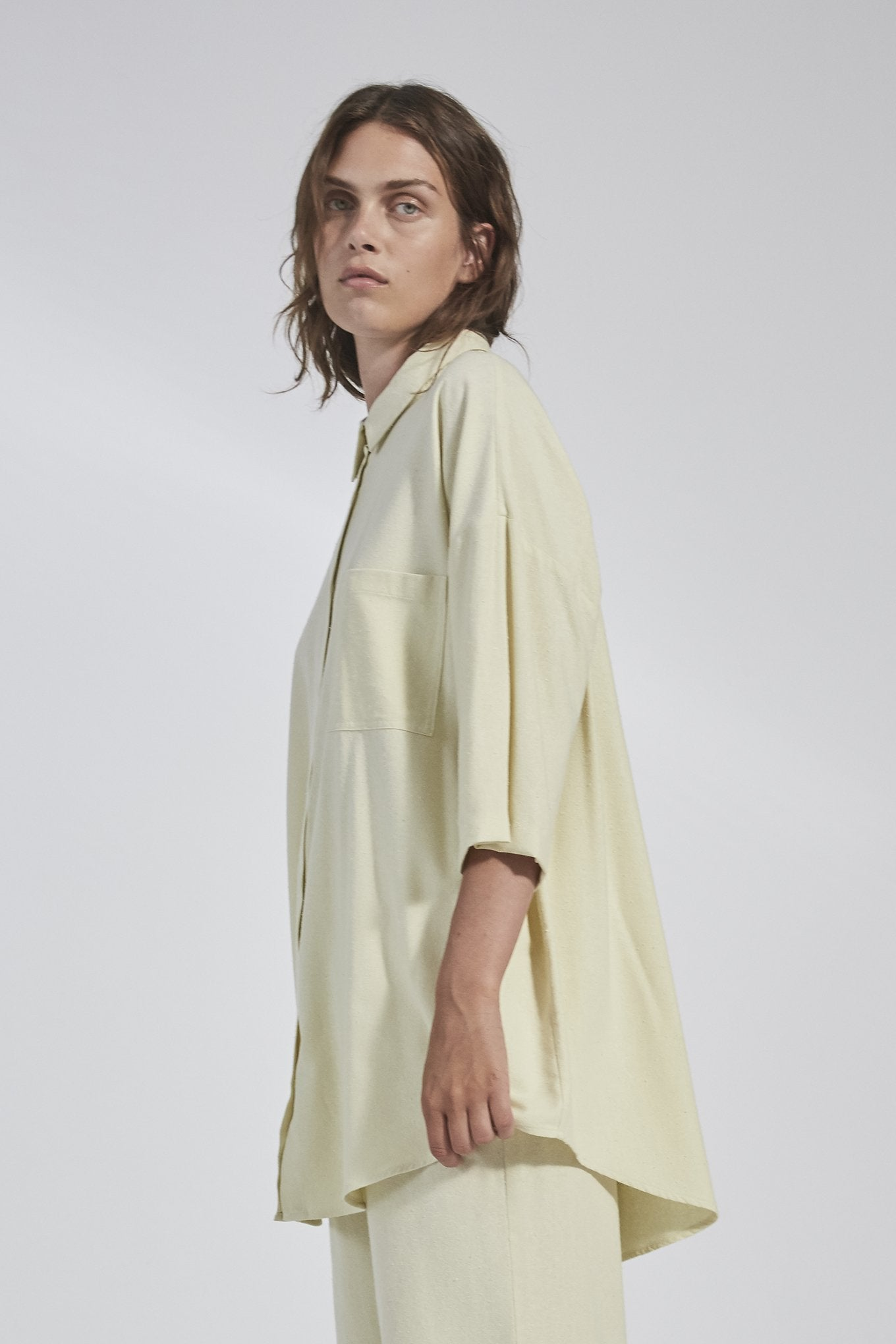Bianca SS Shirt - Lemon - Raw Silk