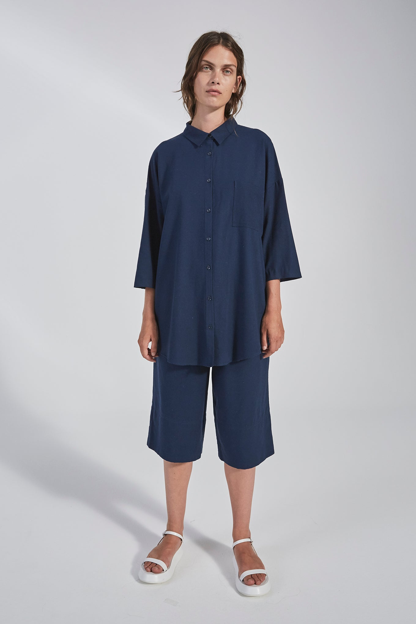BIANCA SS SHIRT - NAVY - RAW SILK