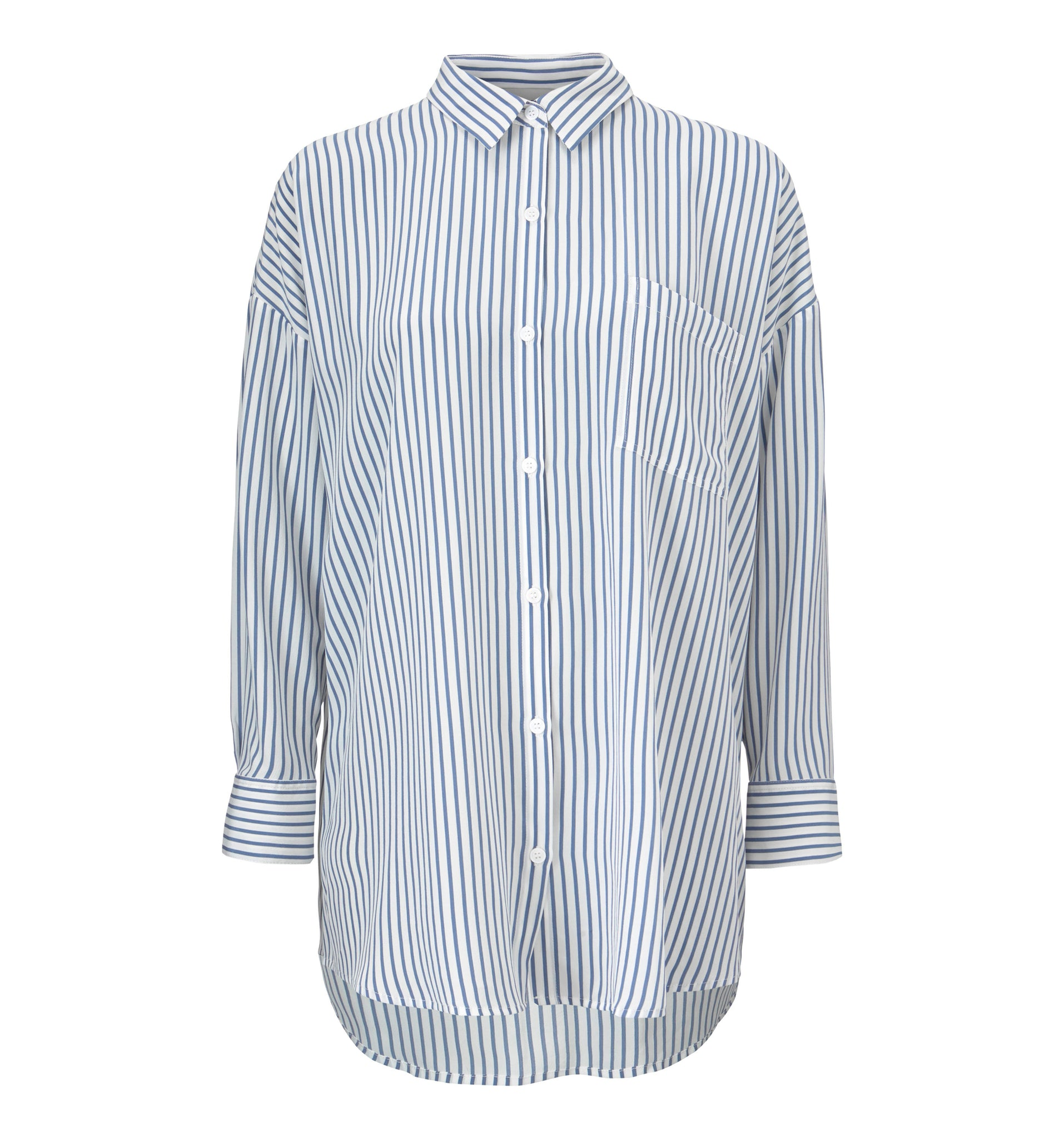 Bianca Pocket Shirt - Blue Stripe