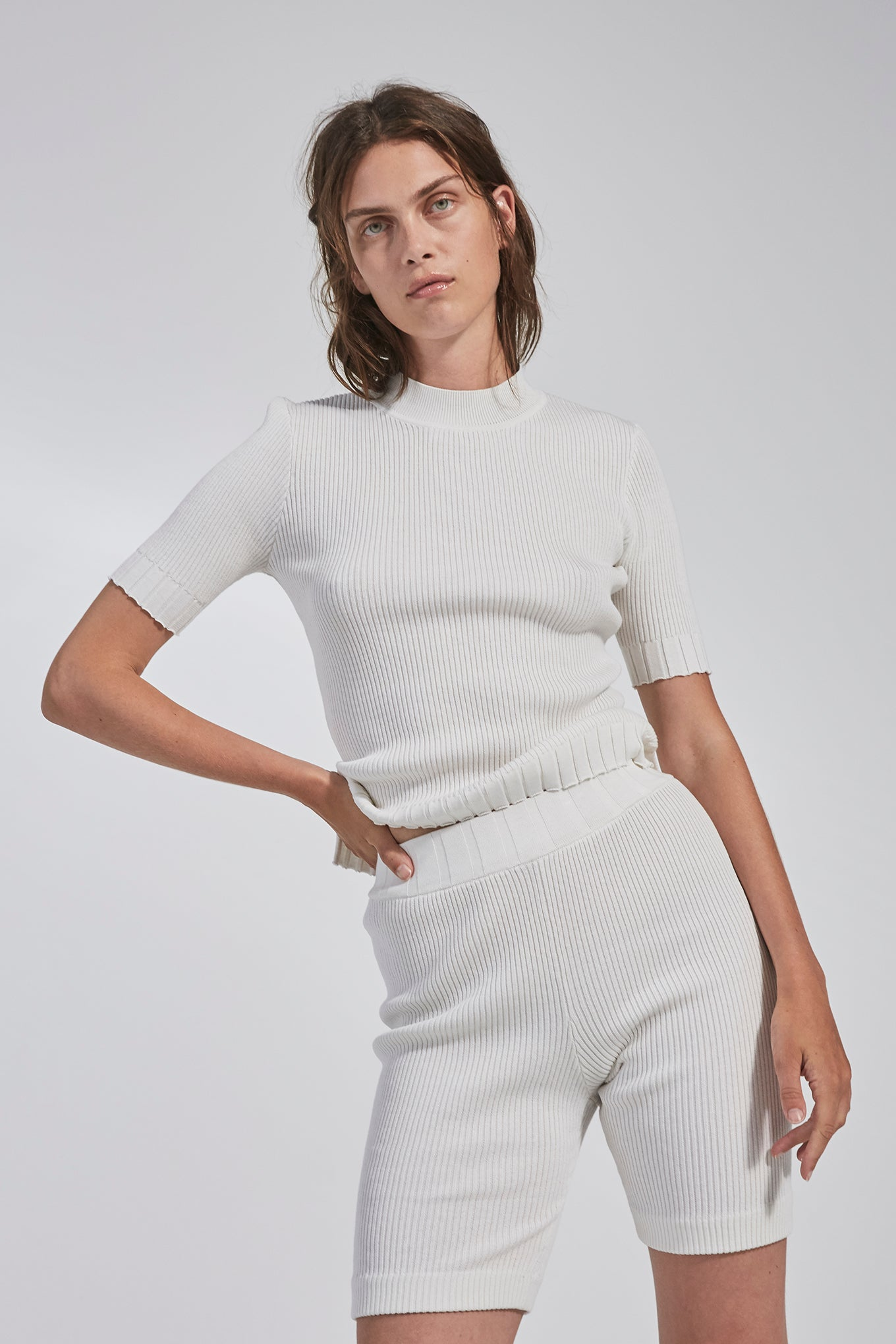 Billie SS Knit - White - Silk/Cotton