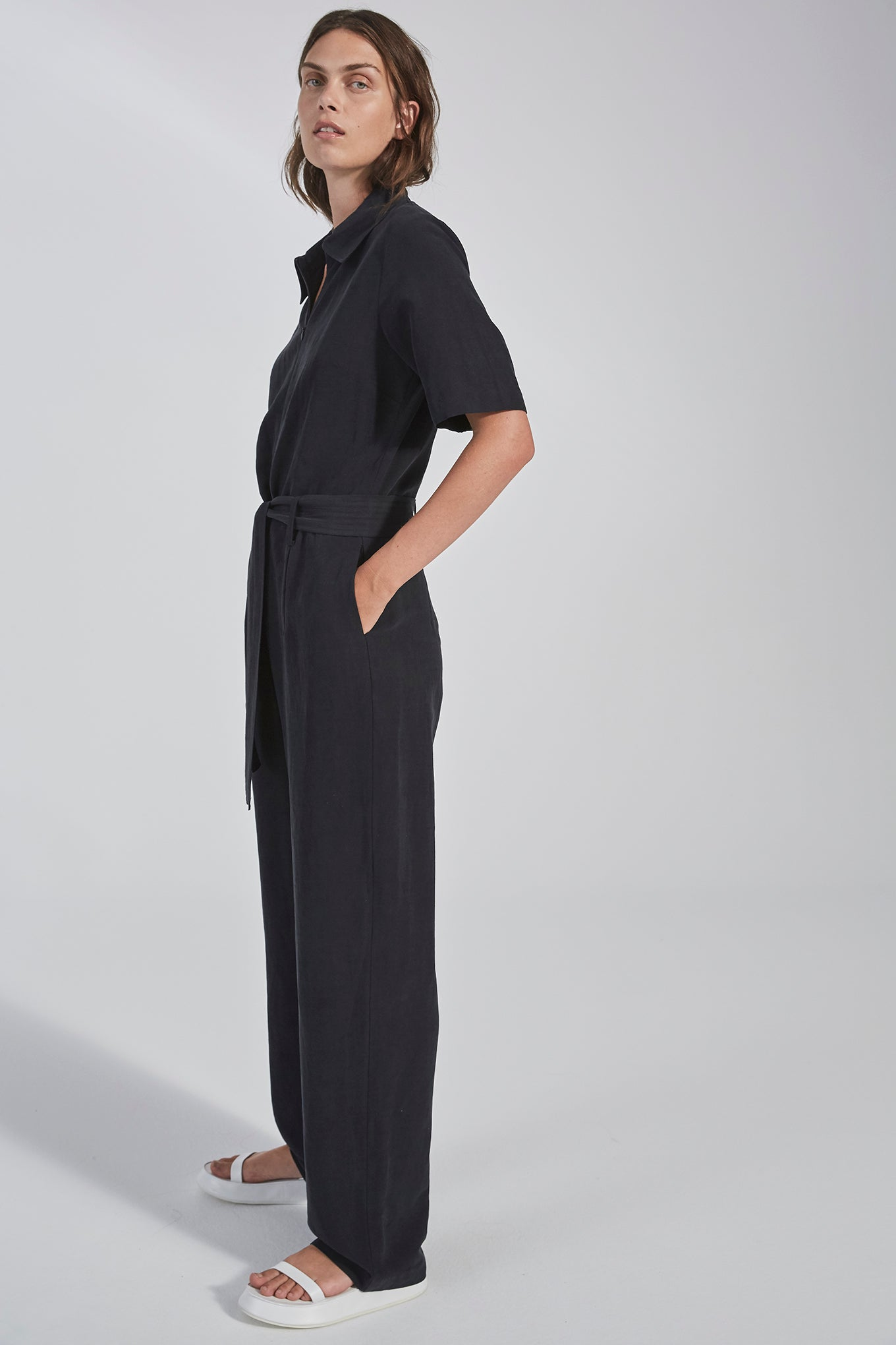 DANA JUMPSUIT - BLACK - SILK/LINEN