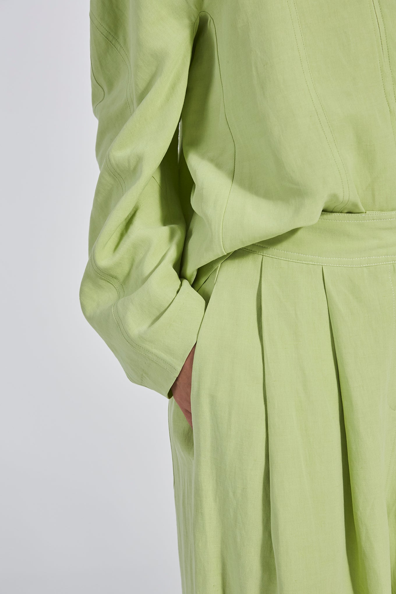 DEBBIE PANTS - LIME - SILK/LINEN