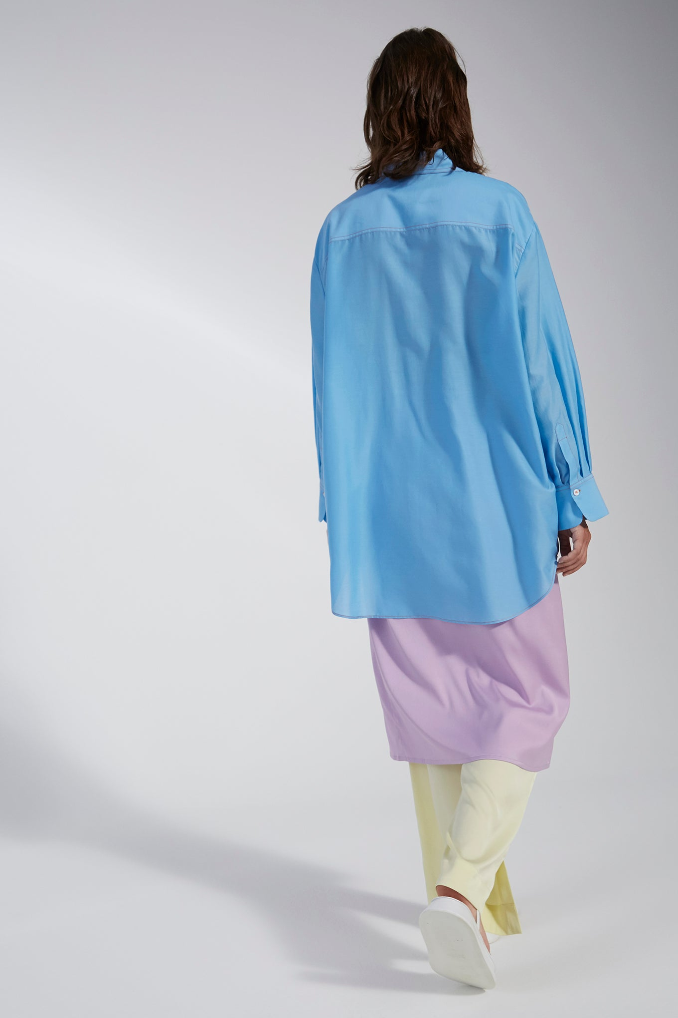 ELFIE SHIRT - LIGHT BLUE - SILK/COTTON