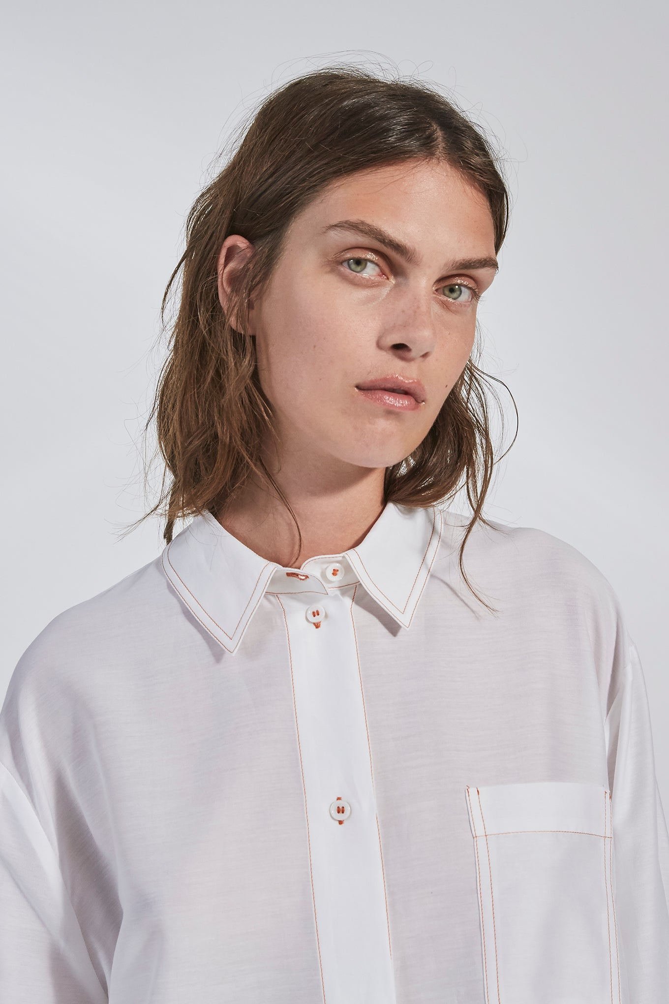 Elfie Shirt - White - Silk/Cotton