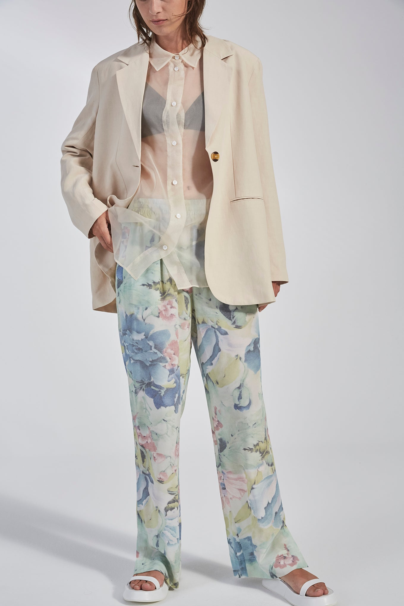Eli Slit Pants - Curtain Flower