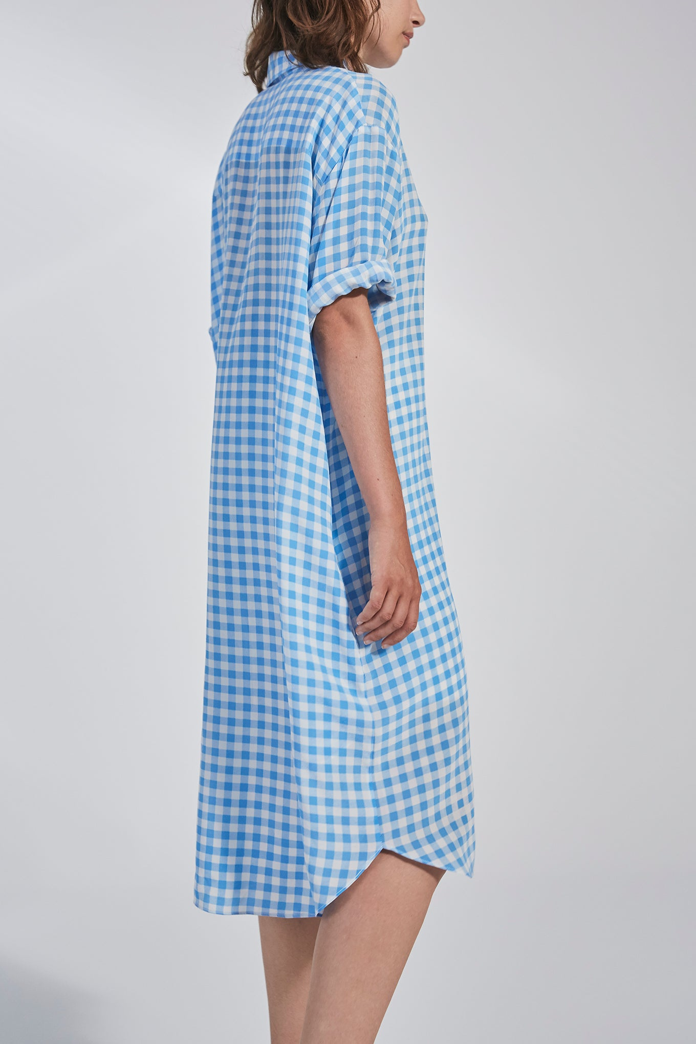 ELIZA SHIRT DRESS - BLUE CHECK