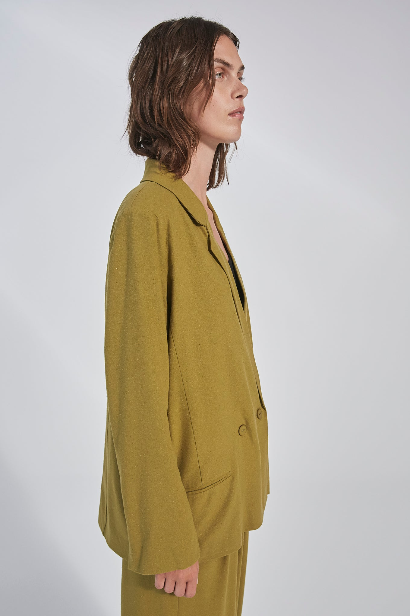 HARPERS BLAZER - PICKLE GREEN - RAW SILK