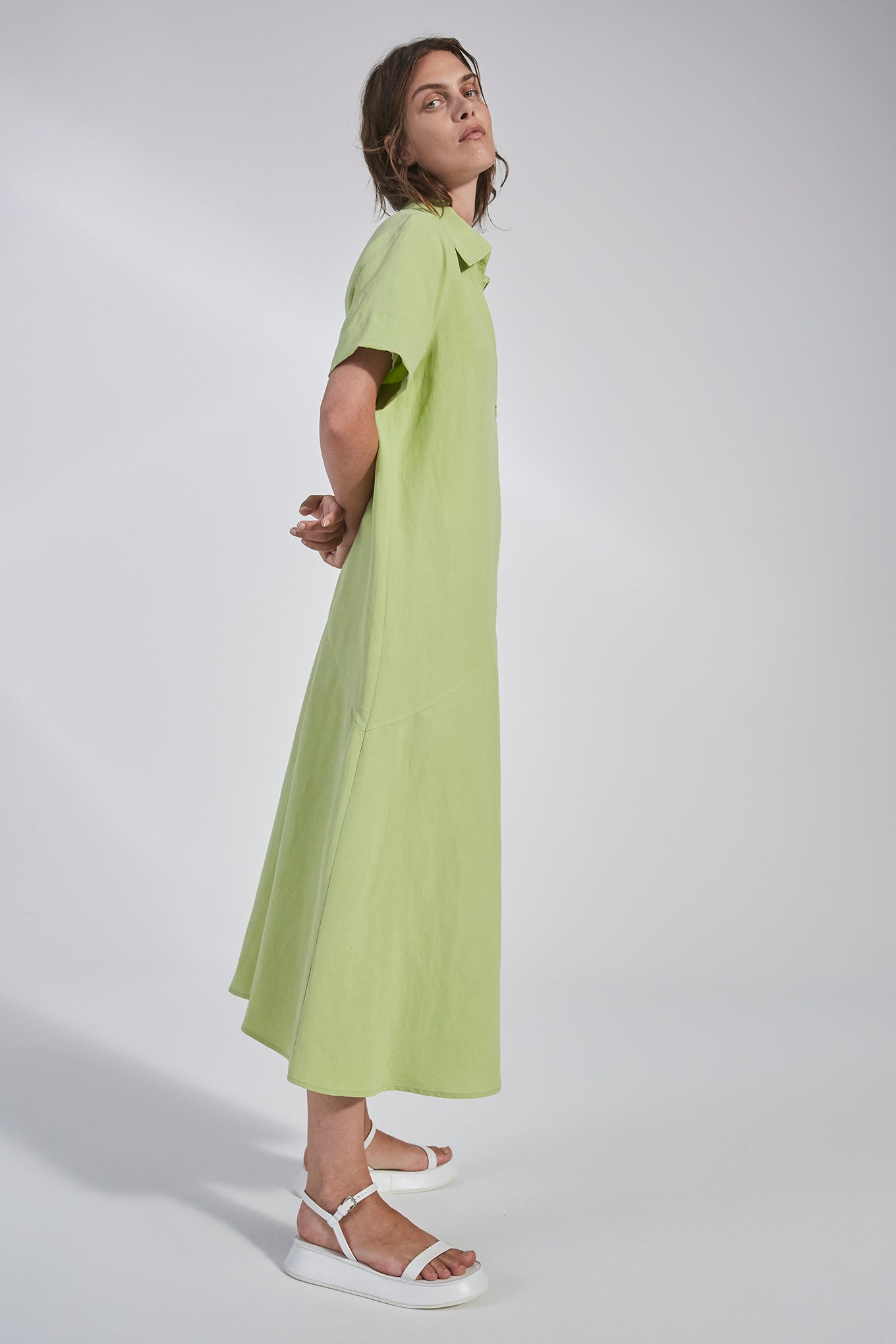 Jody Dress - Lime - Silk/Linen