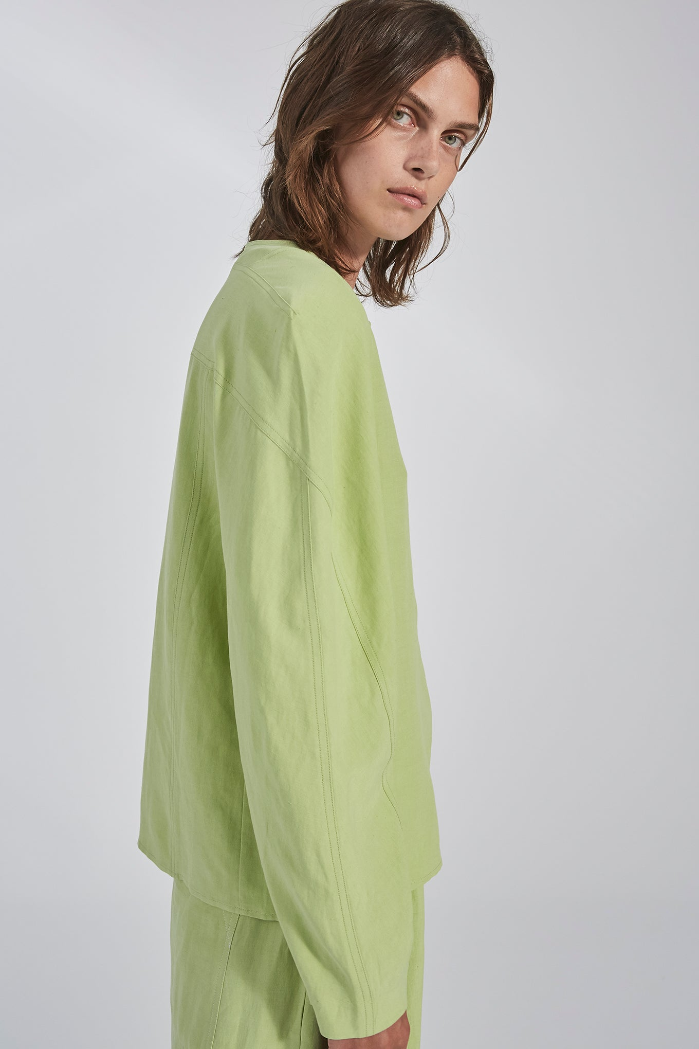 JULIANNA BLOUSE - LIME - SILK/LINEN