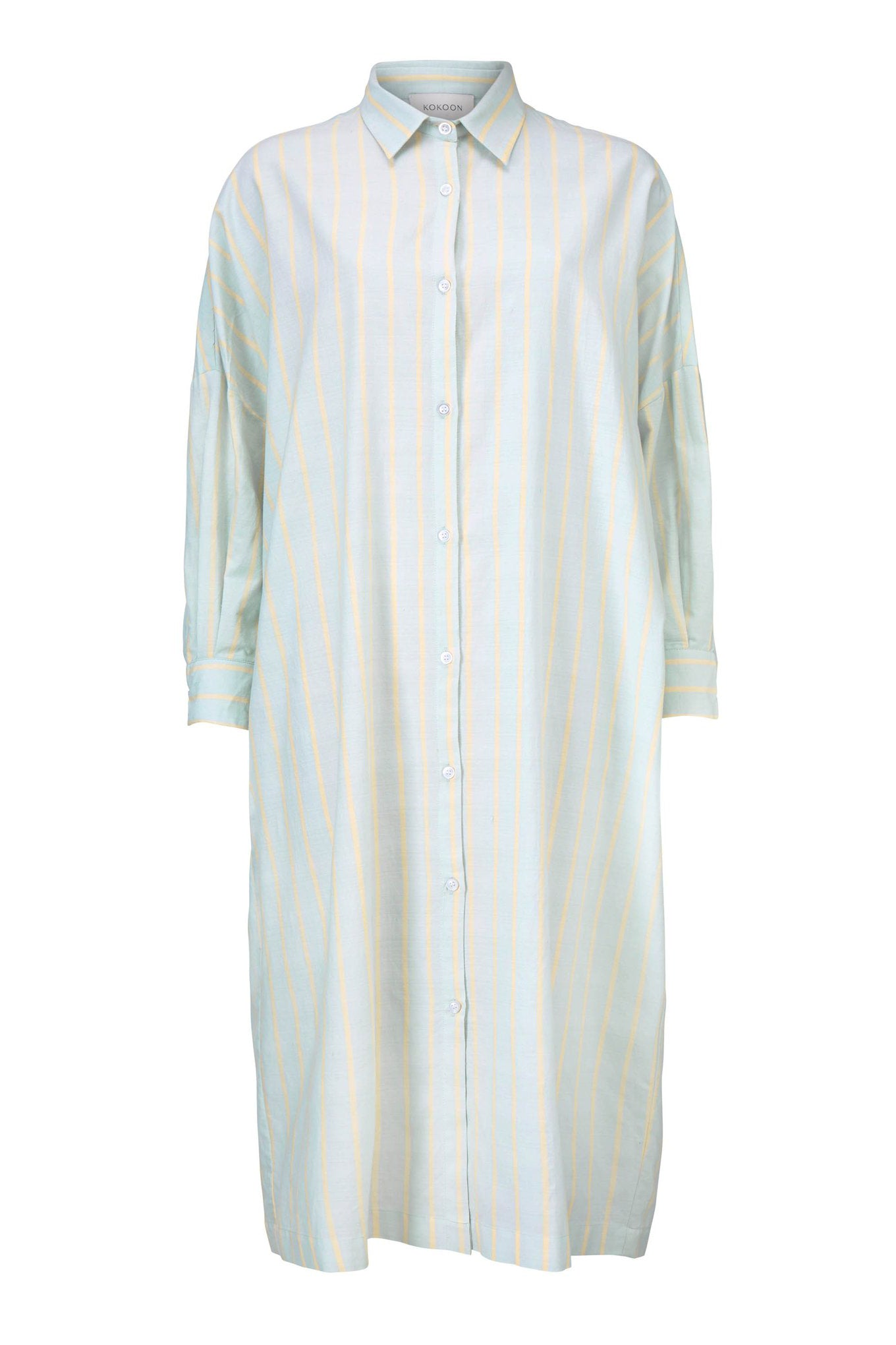 Tana Shirt Dress - Blue/Yellow Stripe - Silk/Cotton