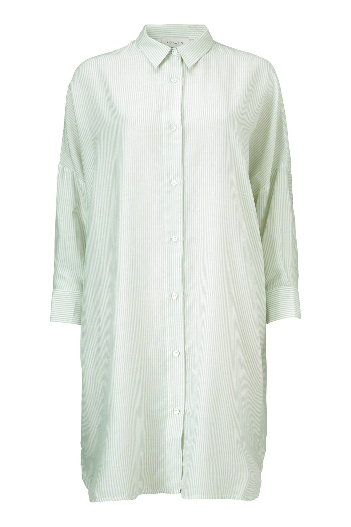 DUKE SHIRT DRESS - MINT STRIPE - SILK/COTTON