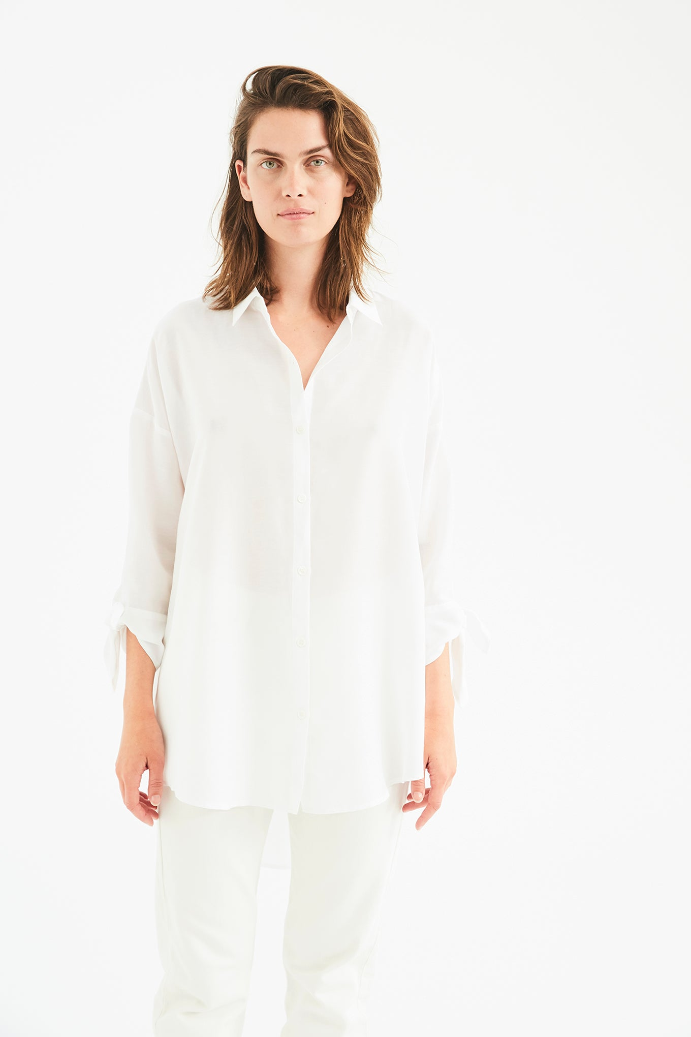 Bianca Bow Shirt - White - Silk/Cotton