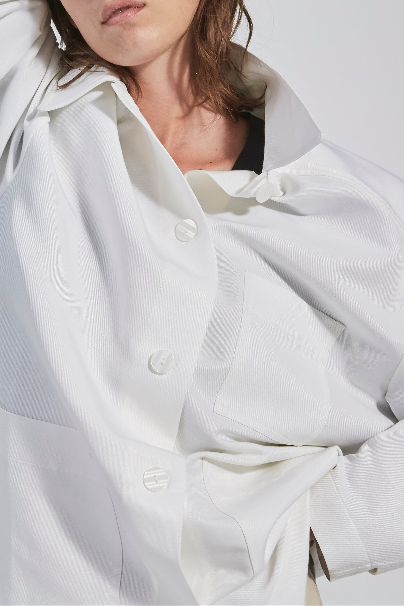 Mara Jacket - White - Silk/Cotton Canvas