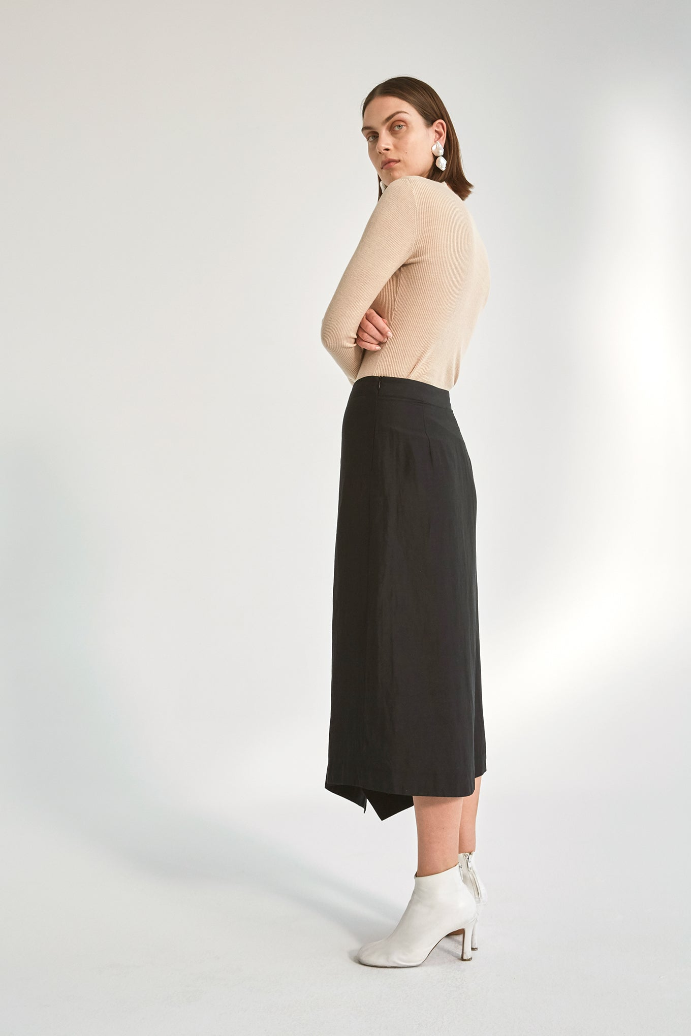 Nina Skirt - Black - Silk/Linen