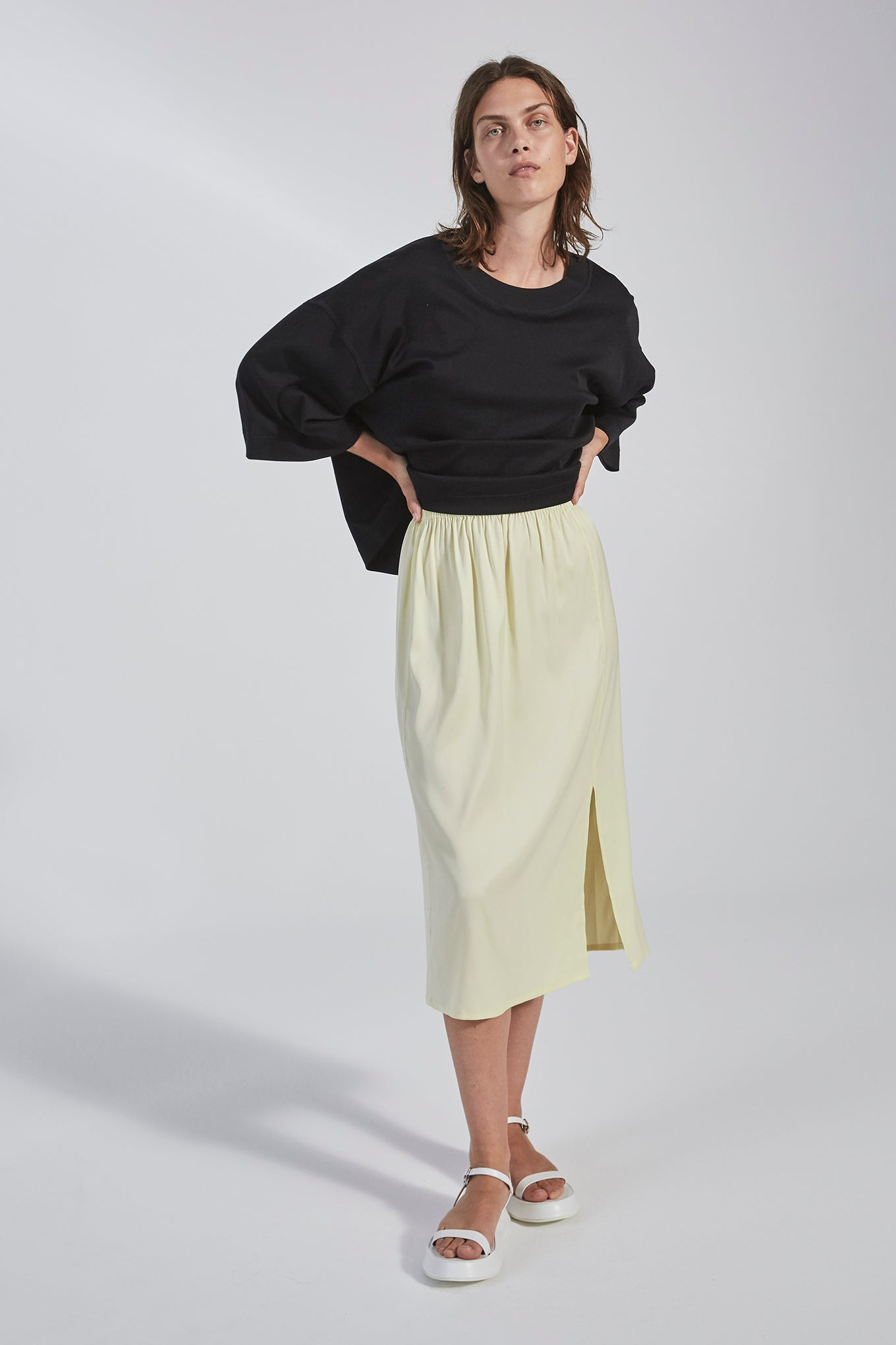Nova Skirt - Lemon - Silk/Spandex Twill