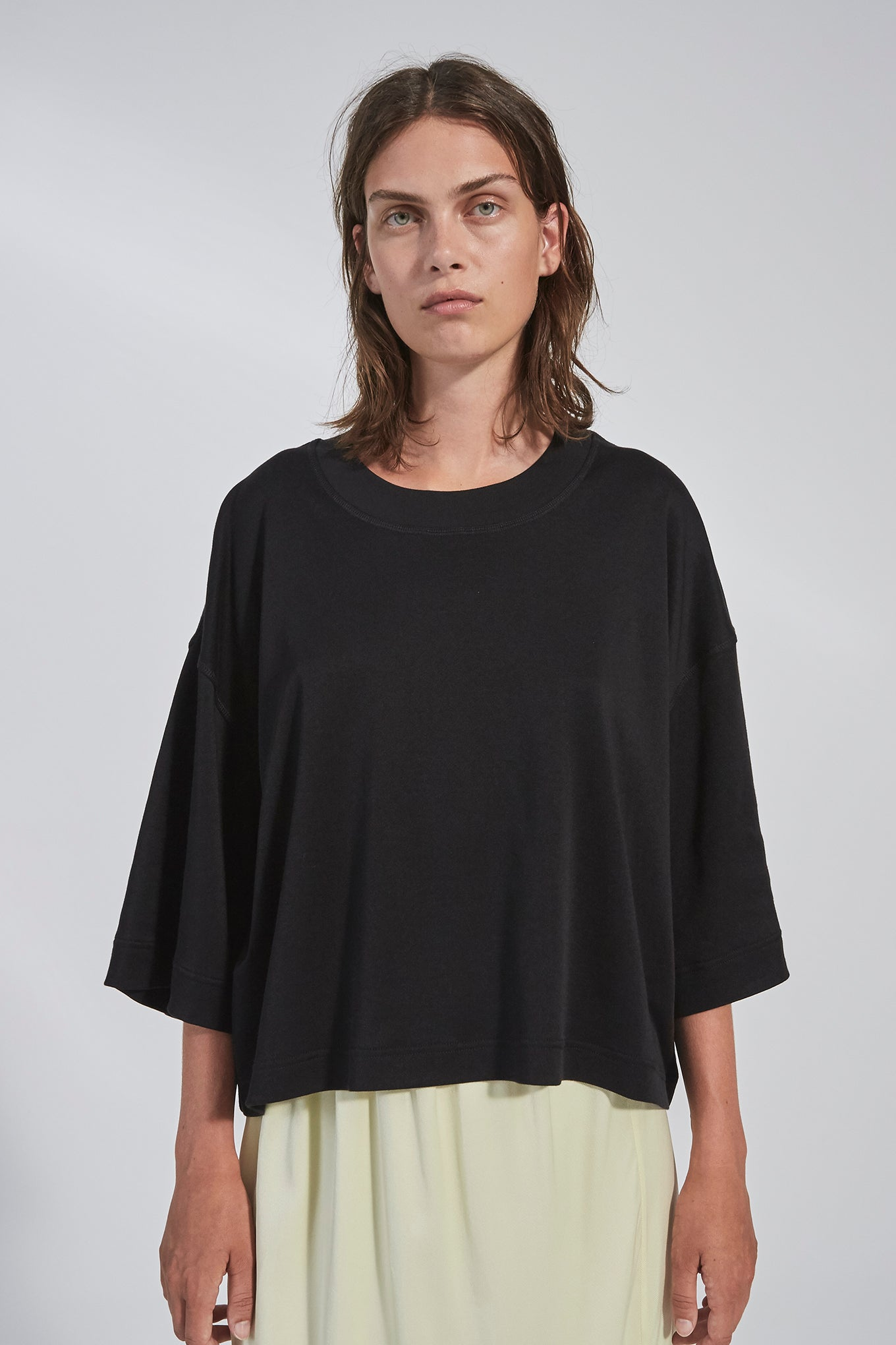 Olga Jersey Tee - Black - Silk/Cotton Jersey