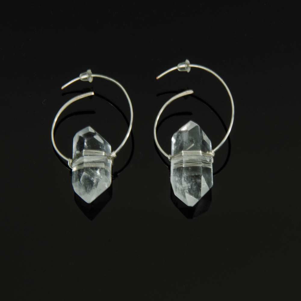 Clear Quartz - Swirl Hoops