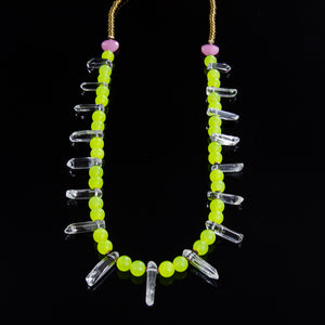 Teeth - Fluorescent Yellow Malay Jade & Clear Quartz - Large