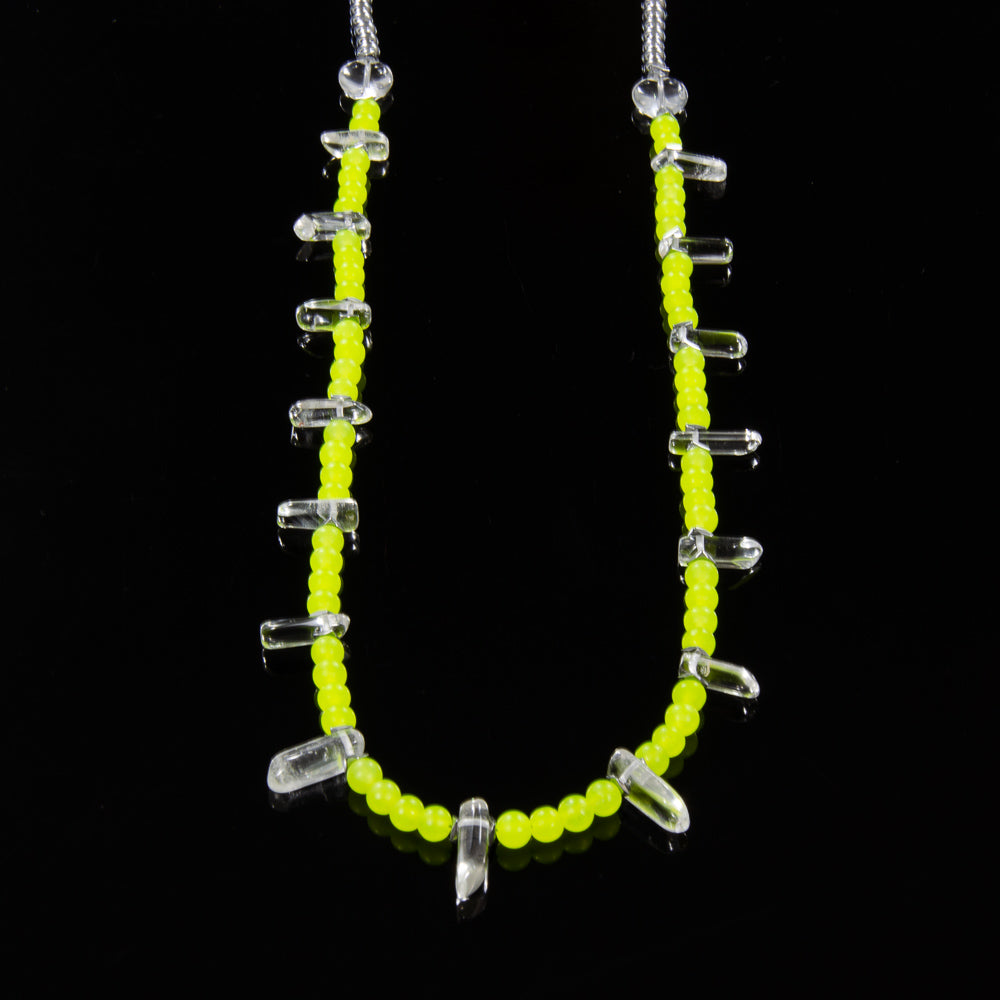 Teeth - Fluorescent Yellow Malay Jade & Clear Quartz - Small