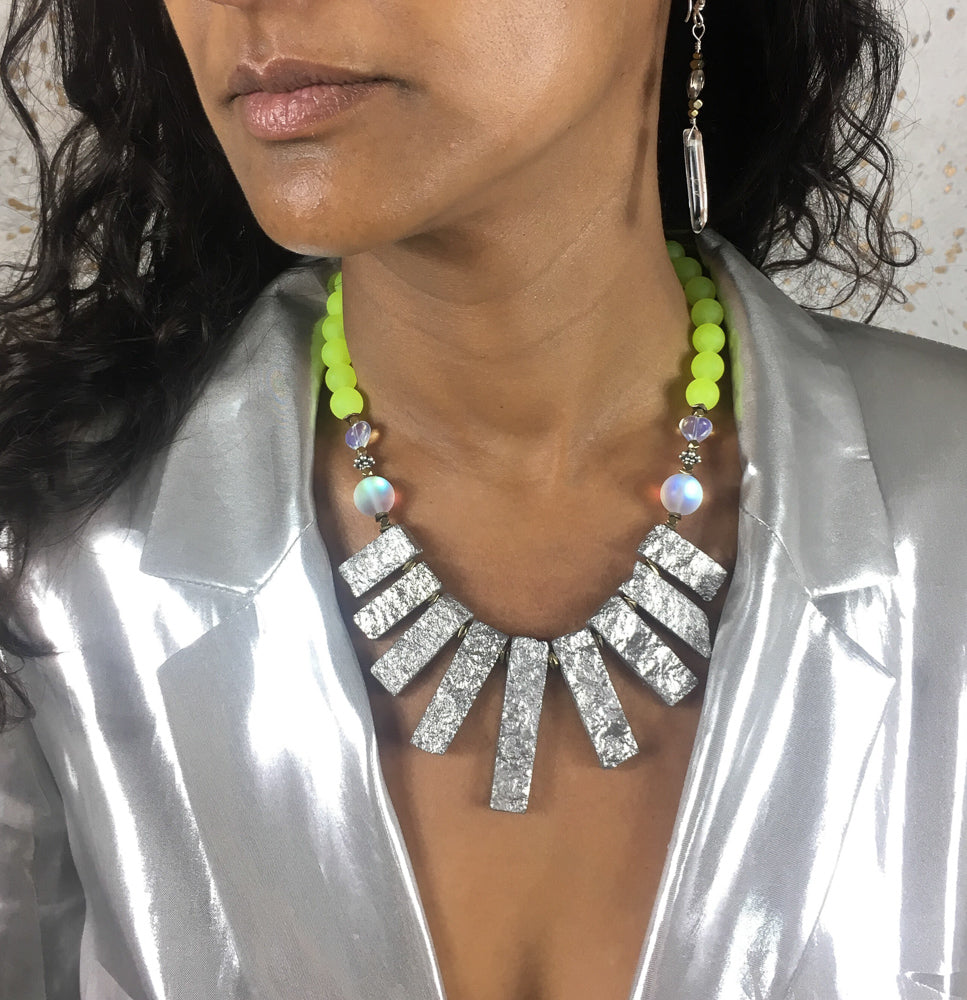 Warrior Queen - Silver Electroplated Aventurine and Fluoro Yellow Malay Jade